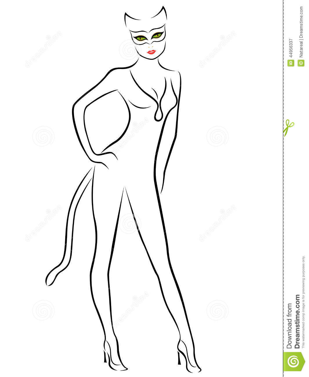 Cat Contour Line Drawing : Cat woman black contour with mask stock vector image