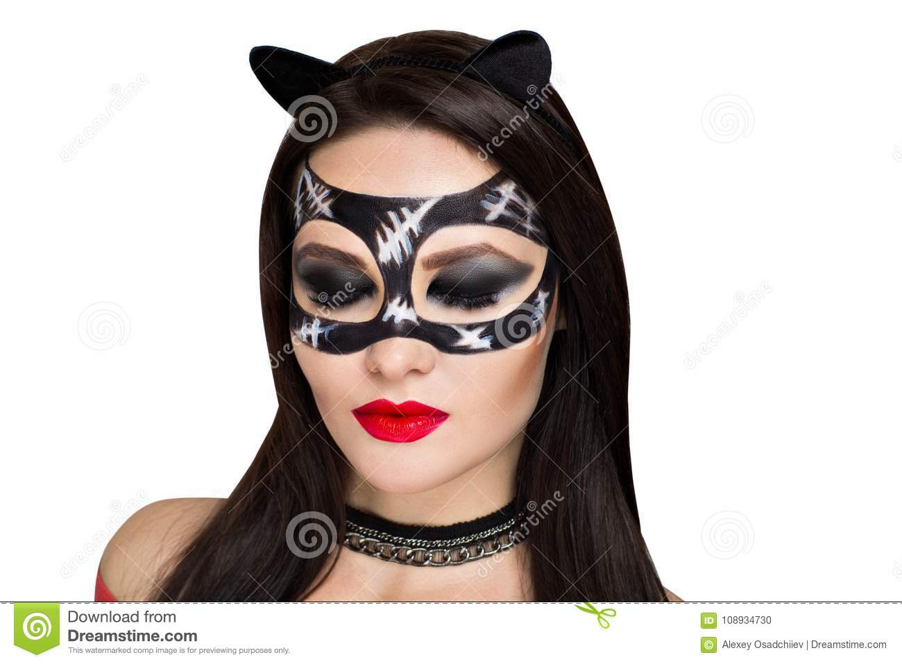 Young beautiful bright showy girl lady model cat. Fairy tale future party  cosplay club. new makeup flawless face dark eyes cheeks eyebrows cat lips 8eac57e54f5