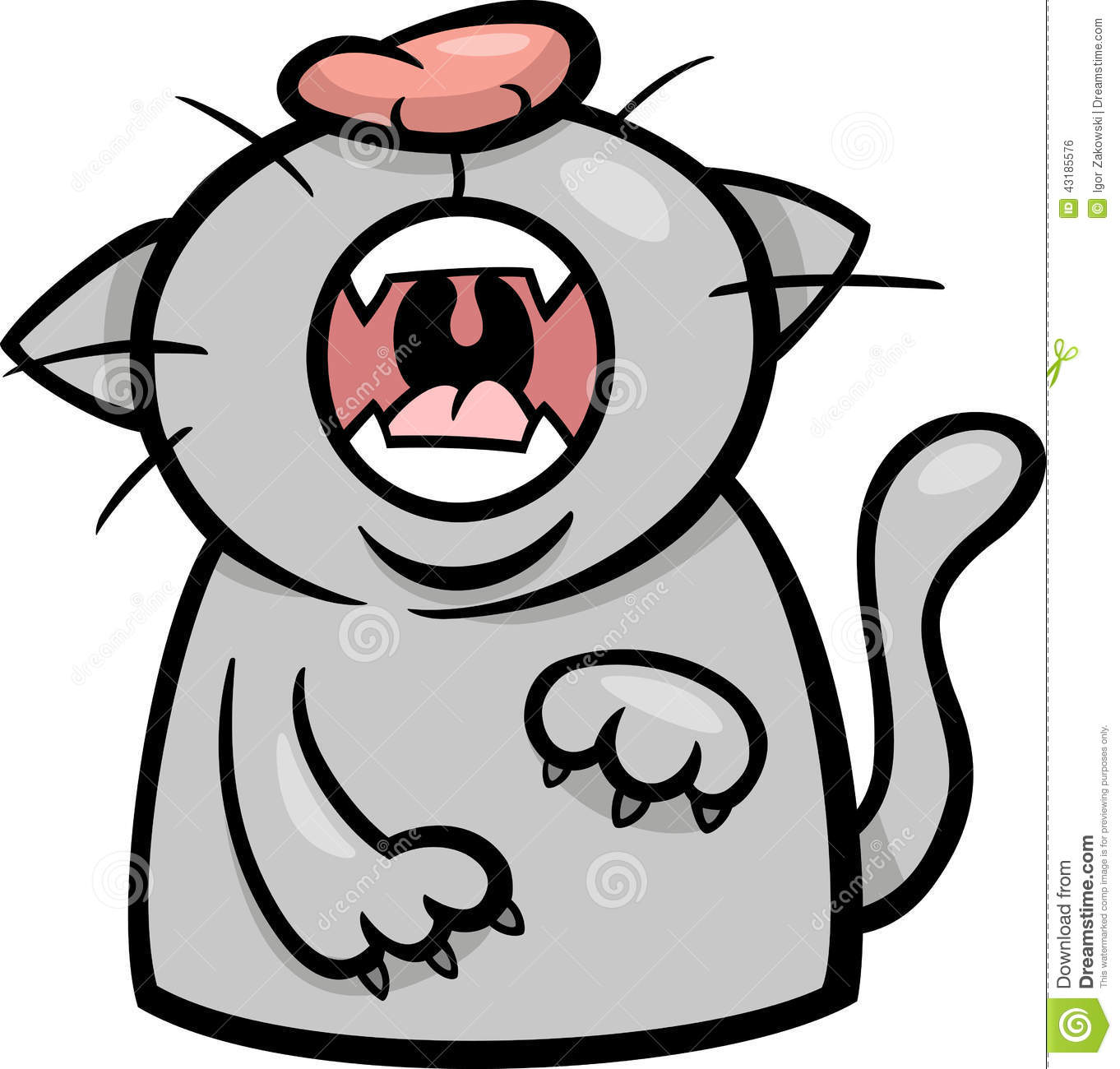 Cartoon Illustration of Funny Yawning or Moewing Cat.