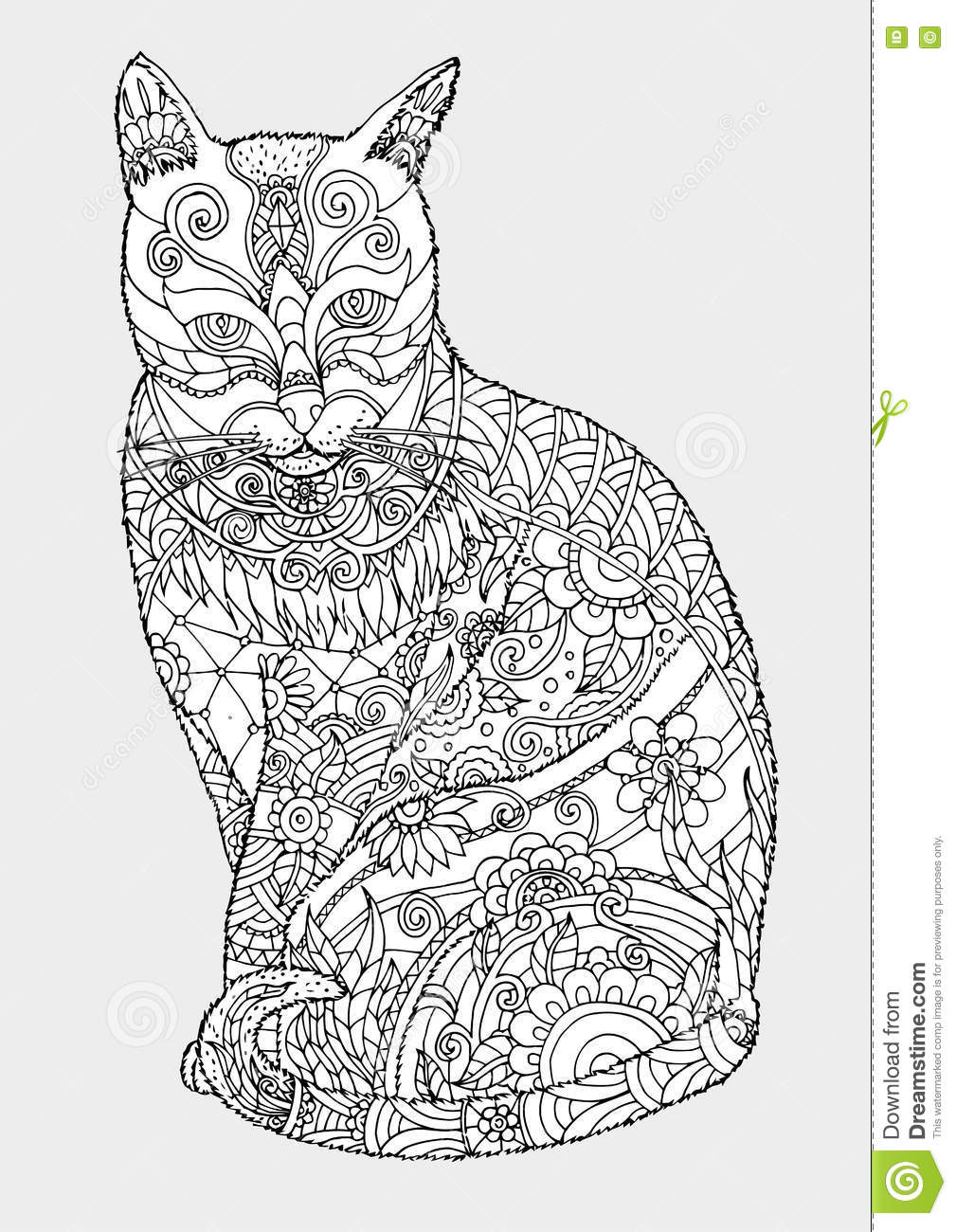 Cat Zentangle By Hand Drawing Stock Vector Illustration