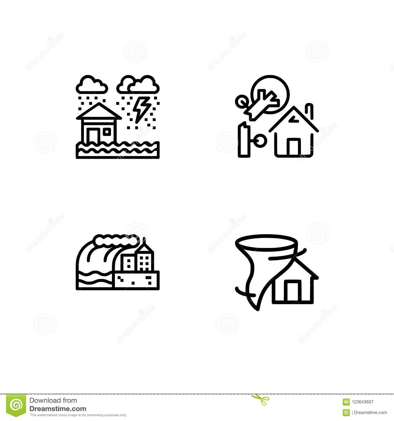 Cataclysms and natural disasters outline icons set EPS 10 vector format. Transparent background.