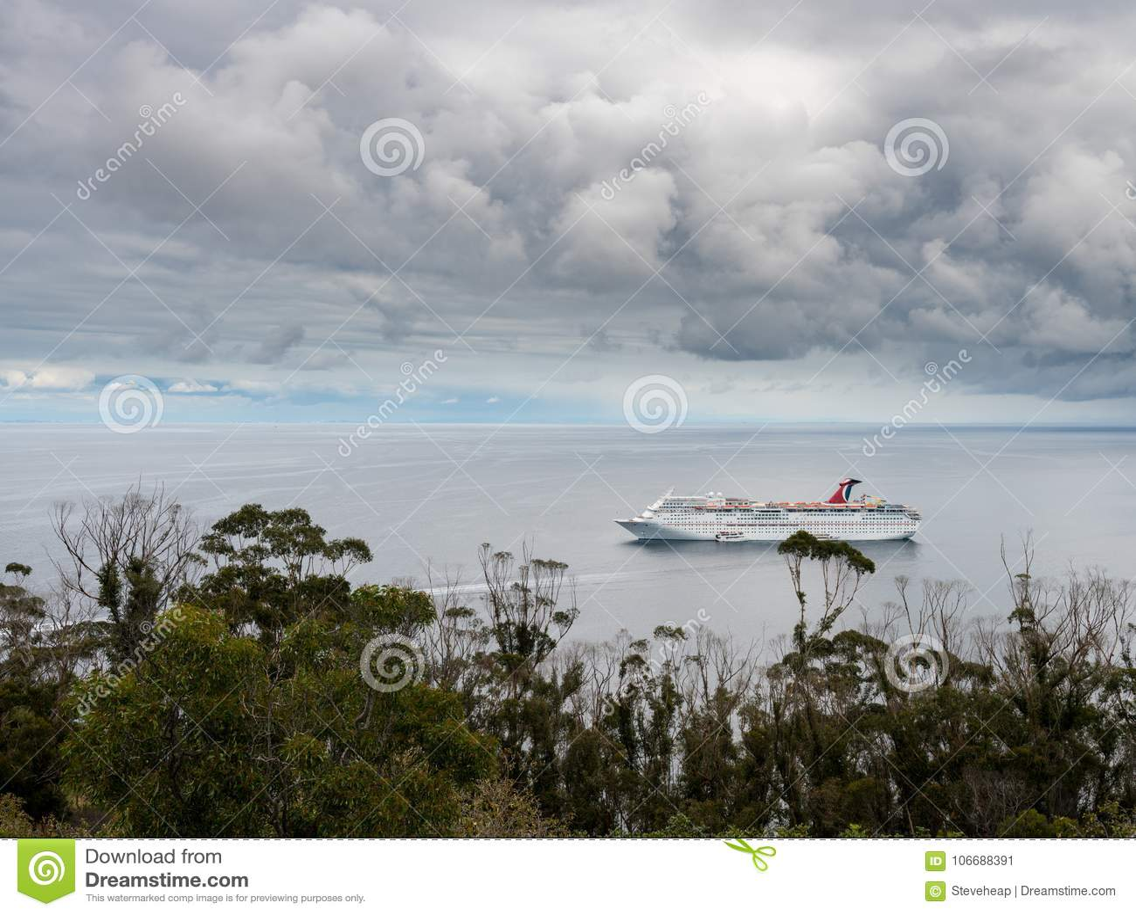 carnival cruise ship visits avalon on catalina island editorial