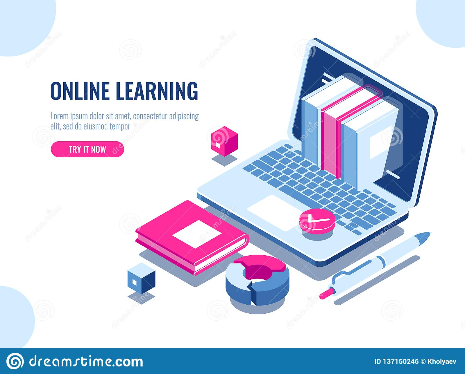 Catalog of online courses isometric icon, online education, internet learning, laptop with book on screen, seo