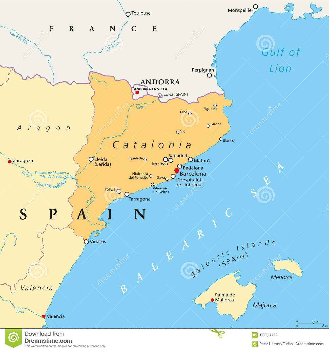 Catalonia Autonomous Community Of Spain Political Map Stock Vector