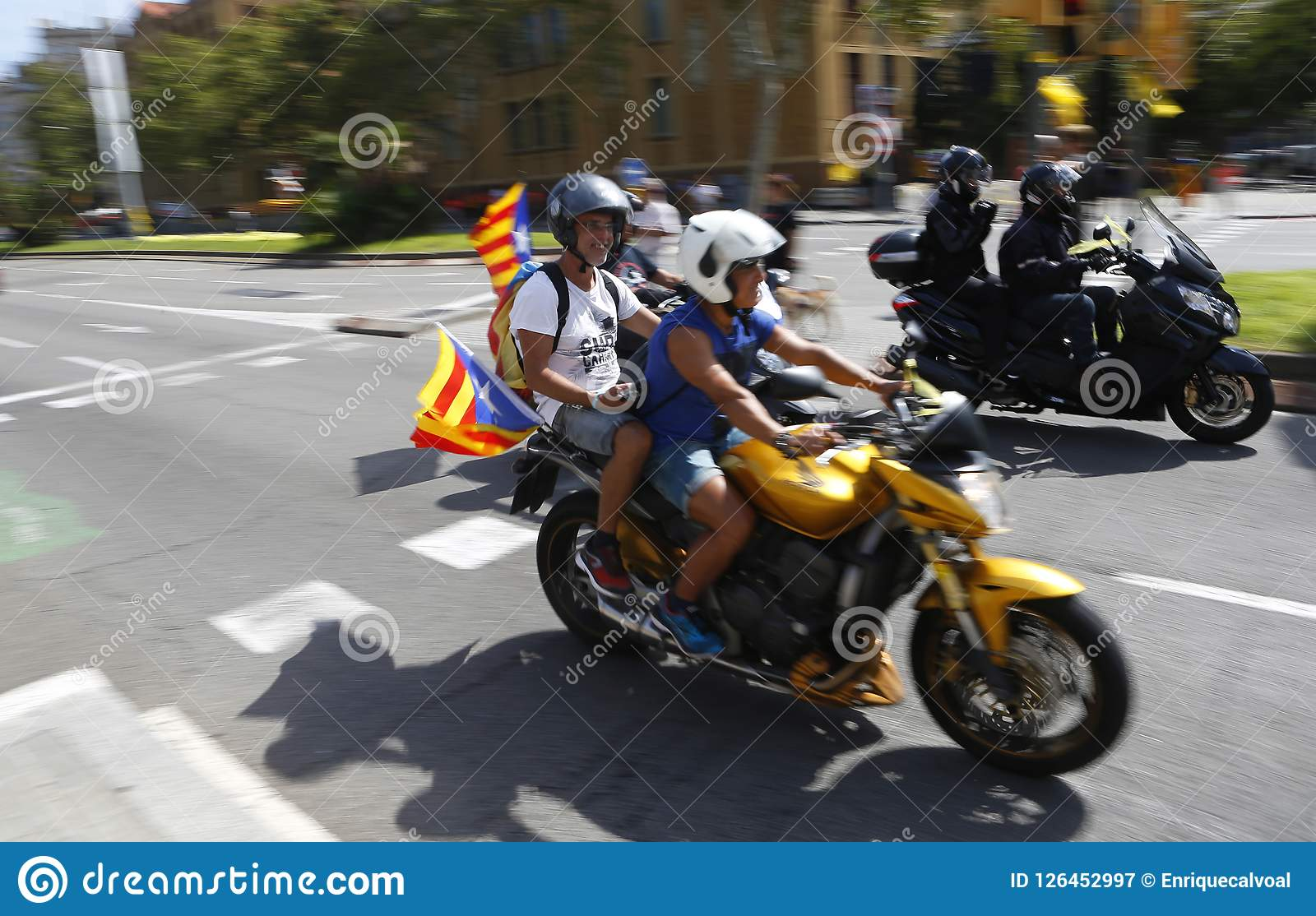 Catalonia Diada In Barcelona City Streets Editorial ...