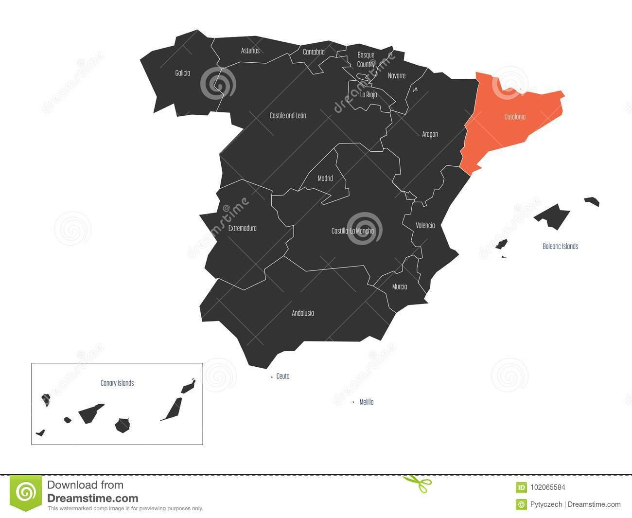 Map Of Spain By Region.Catalonia Region In A Vector Map Of Spain Stock Vector