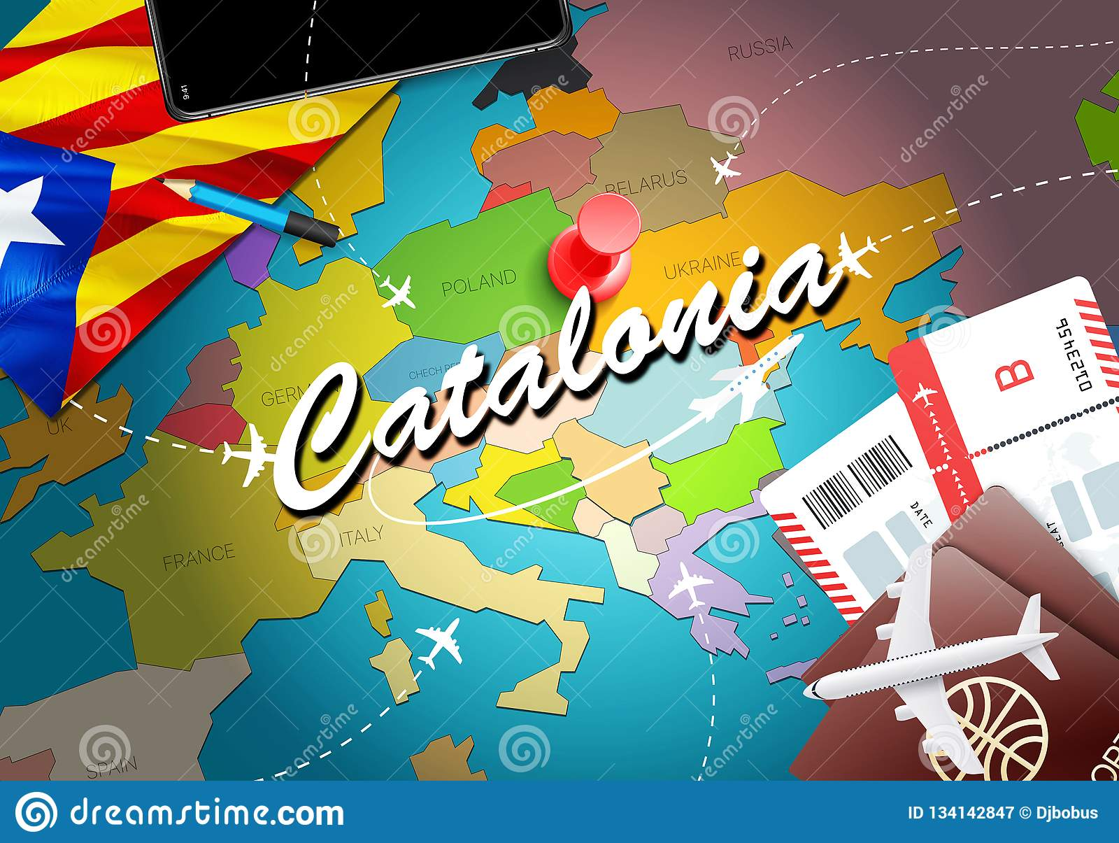 Catalonia Travel Concept Map Background With Planes, Tickets. Visit ...