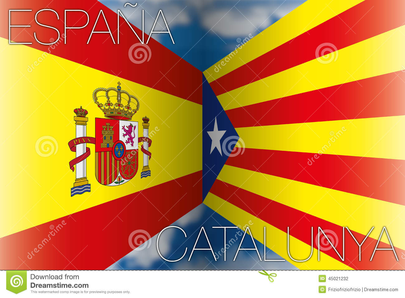 catalonia vs spain flags stock photo image of elections 45021232