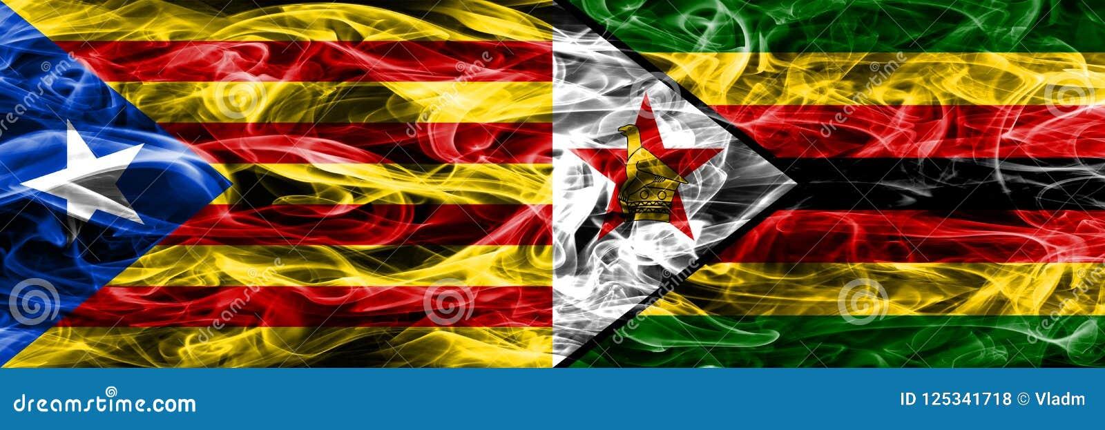 Catalonia vs Zimbabwe kopieringsrök sjunker den förlade sidan - förbi - sidan Tjockt färgade silkeslena rökflaggor av Catalan och