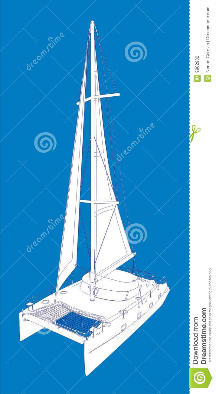 Catamaran Boat Vector Drawing Look Like Paint Stock Vector - Illustration of sailboat ...