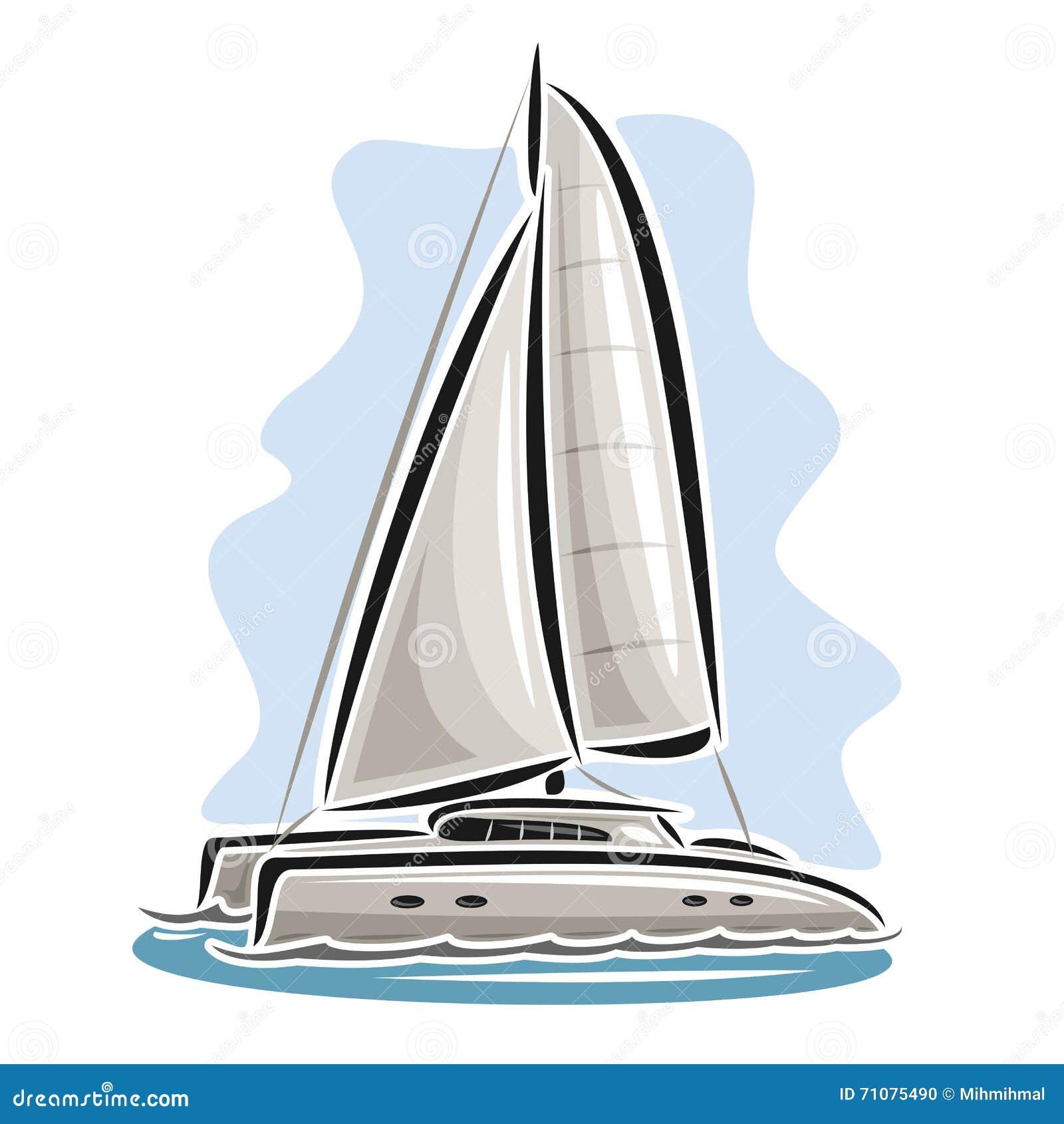 catamaran de navigation de logo de vecteur illustration de