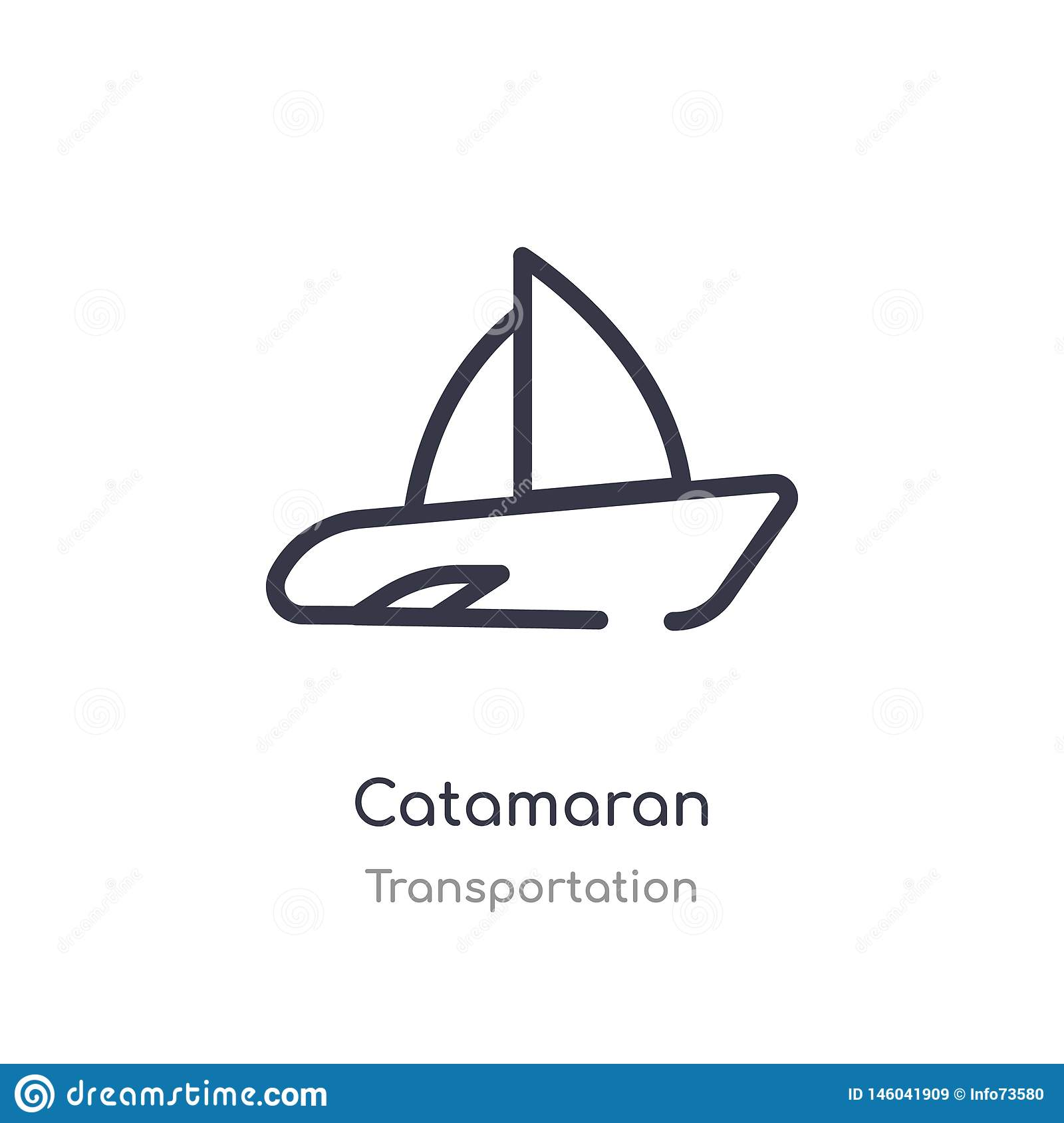 catamaran outline icon. isolated line vector illustration from transportation collection. editable thin stroke catamaran icon on