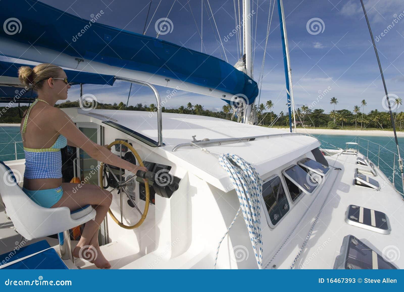 Catamarano di lusso south pacific fotografia stock for Catamarani di lusso
