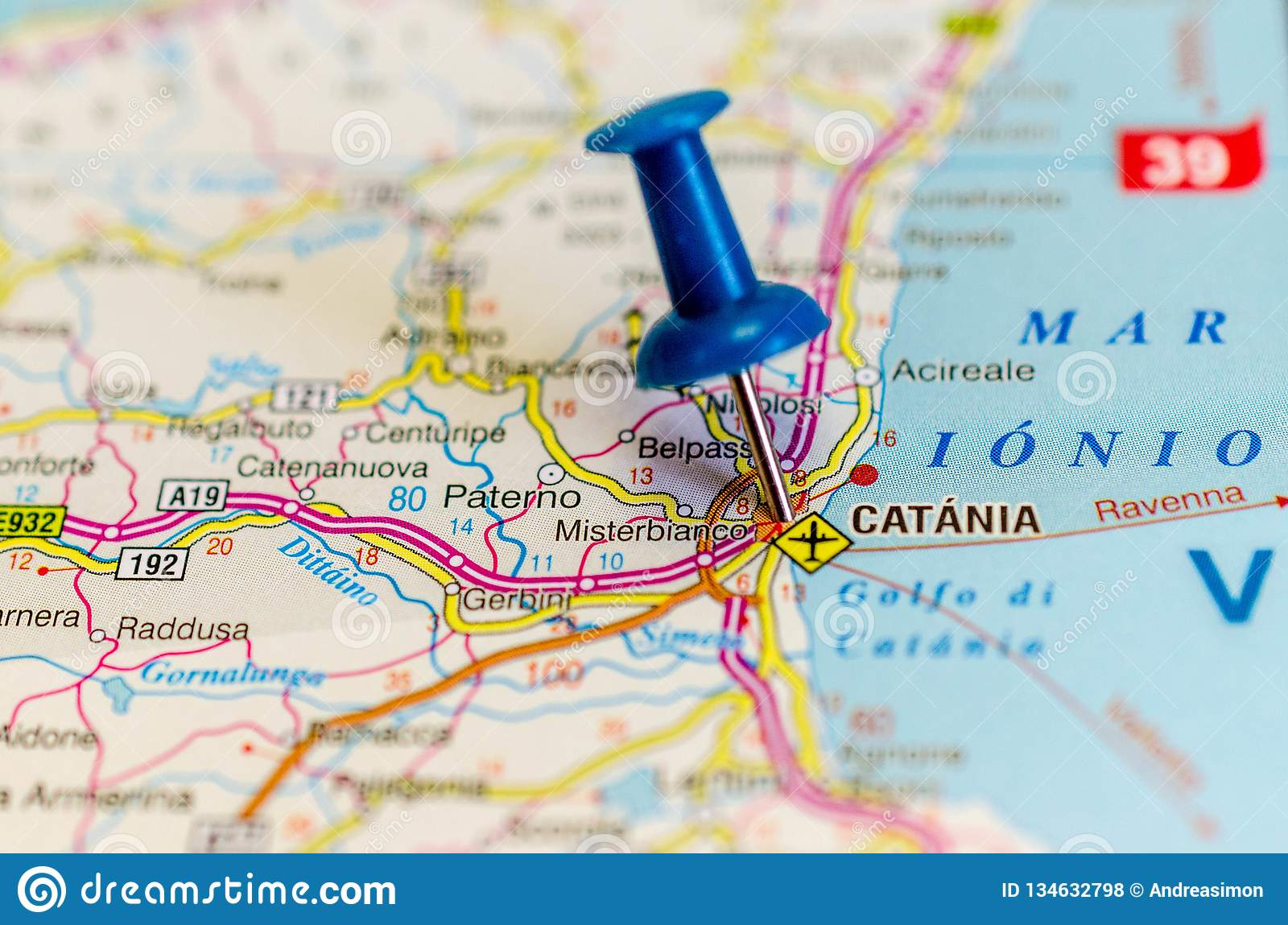 Catania on map stock photo. Image of coordinates, directions - 134632798