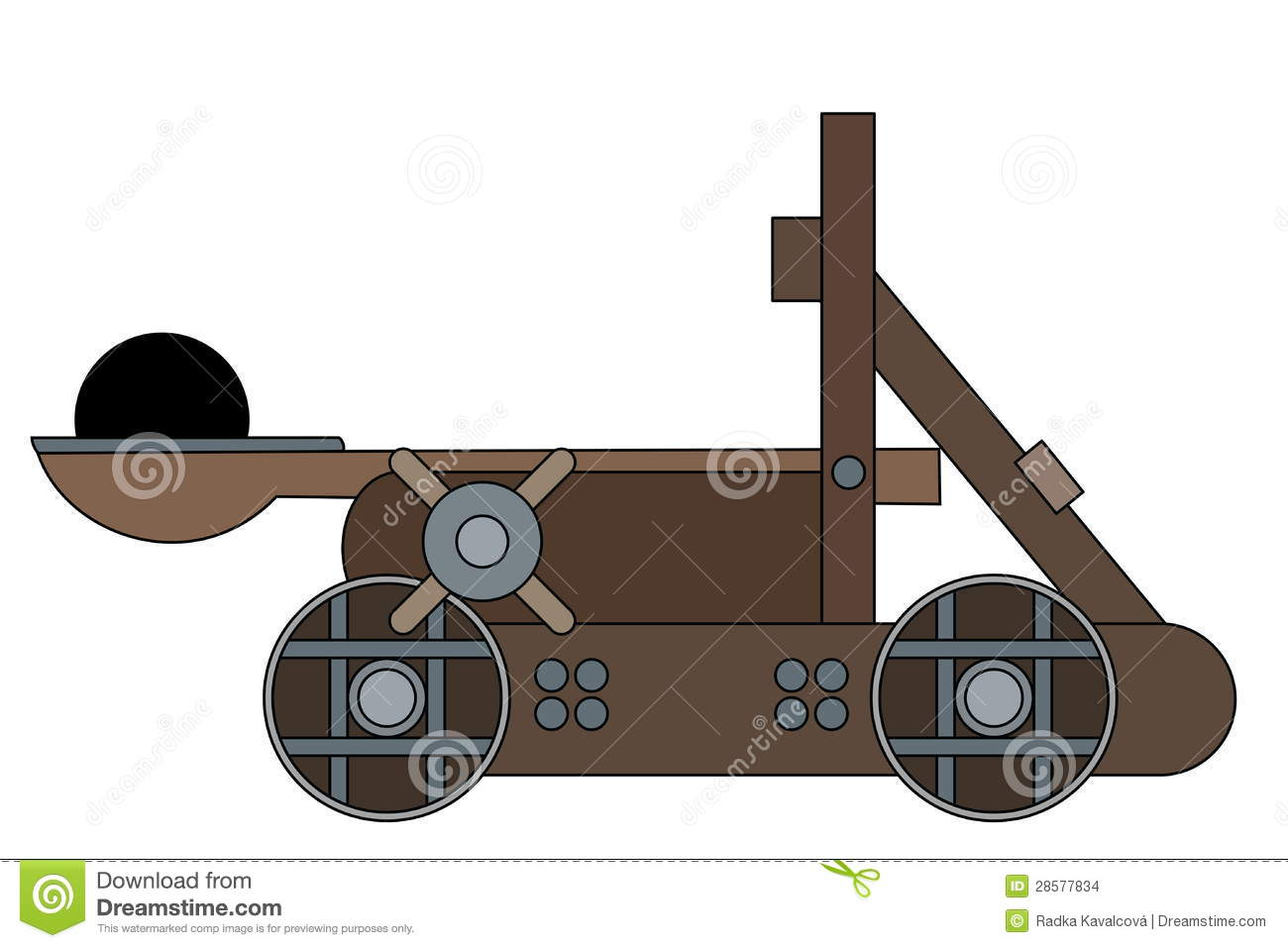 Catapult Cartoon Stock Vector Illustration Of Object 28577834 Diagram