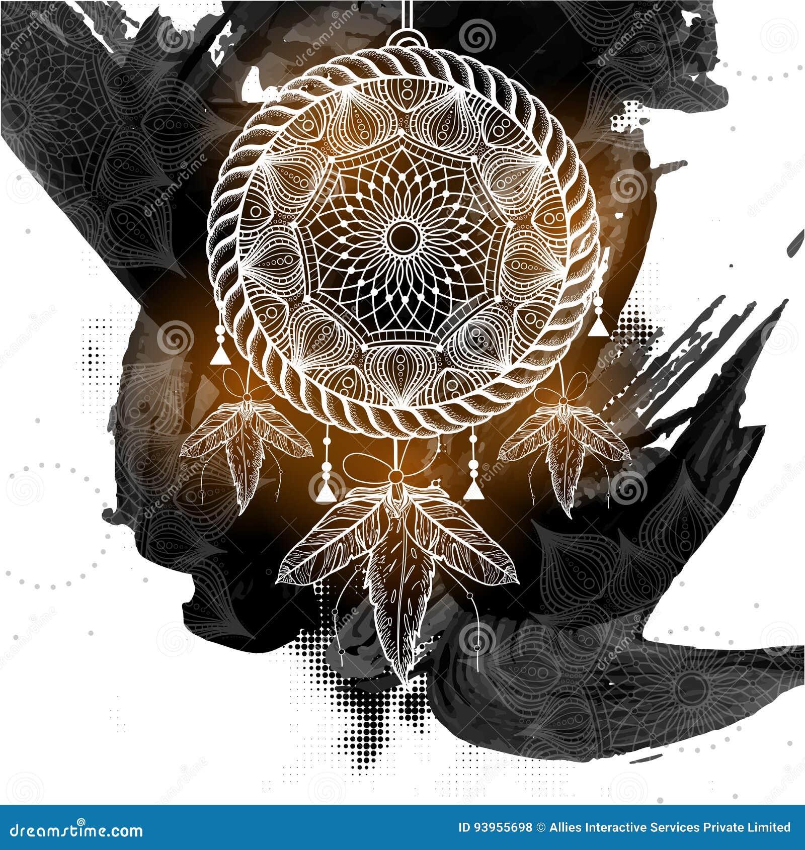 Catcher ονείρου ύφους Boho με το φυλετικό floral σχέδιο