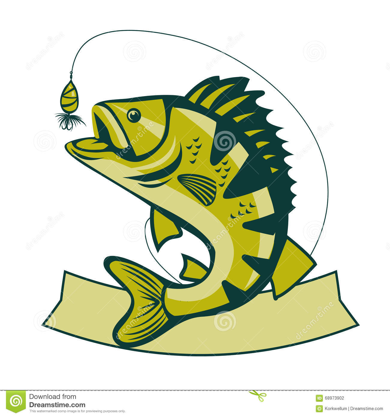 Catching Bass Fish. Fish Color. Vector Fish. Graphic Fish. Stock ...