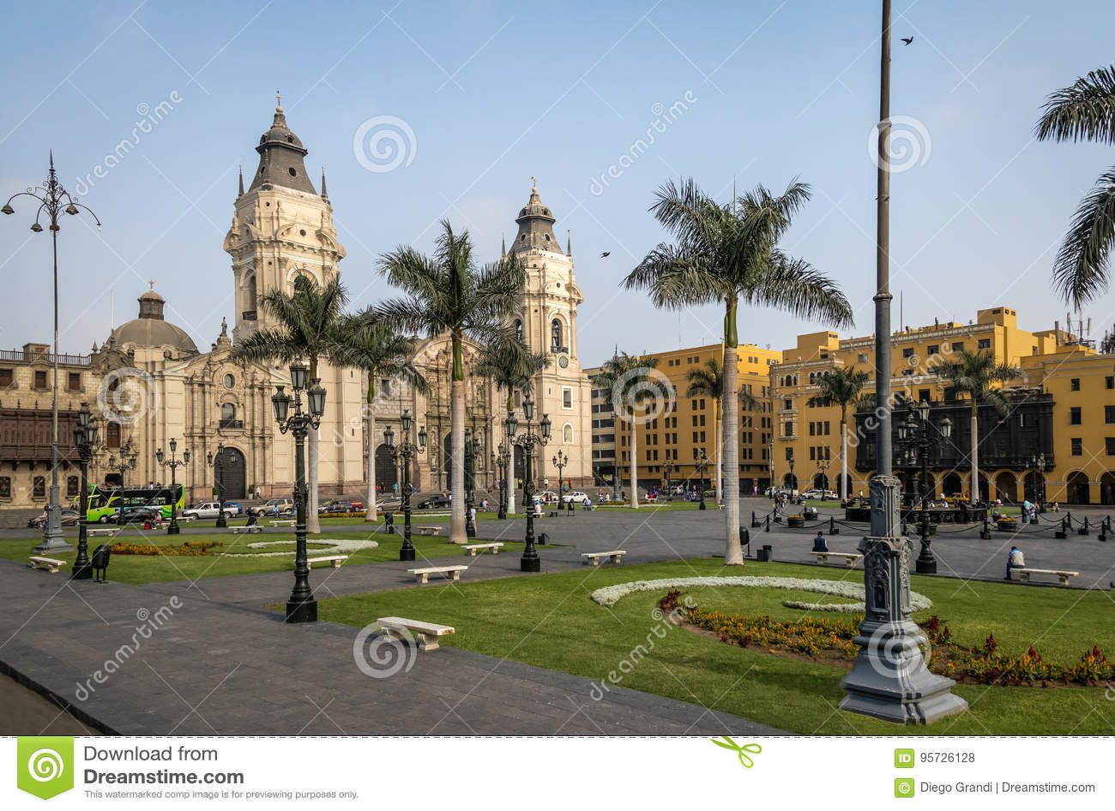 A catedral da basílica de Lima no prefeito da plaza - Lima, Peru