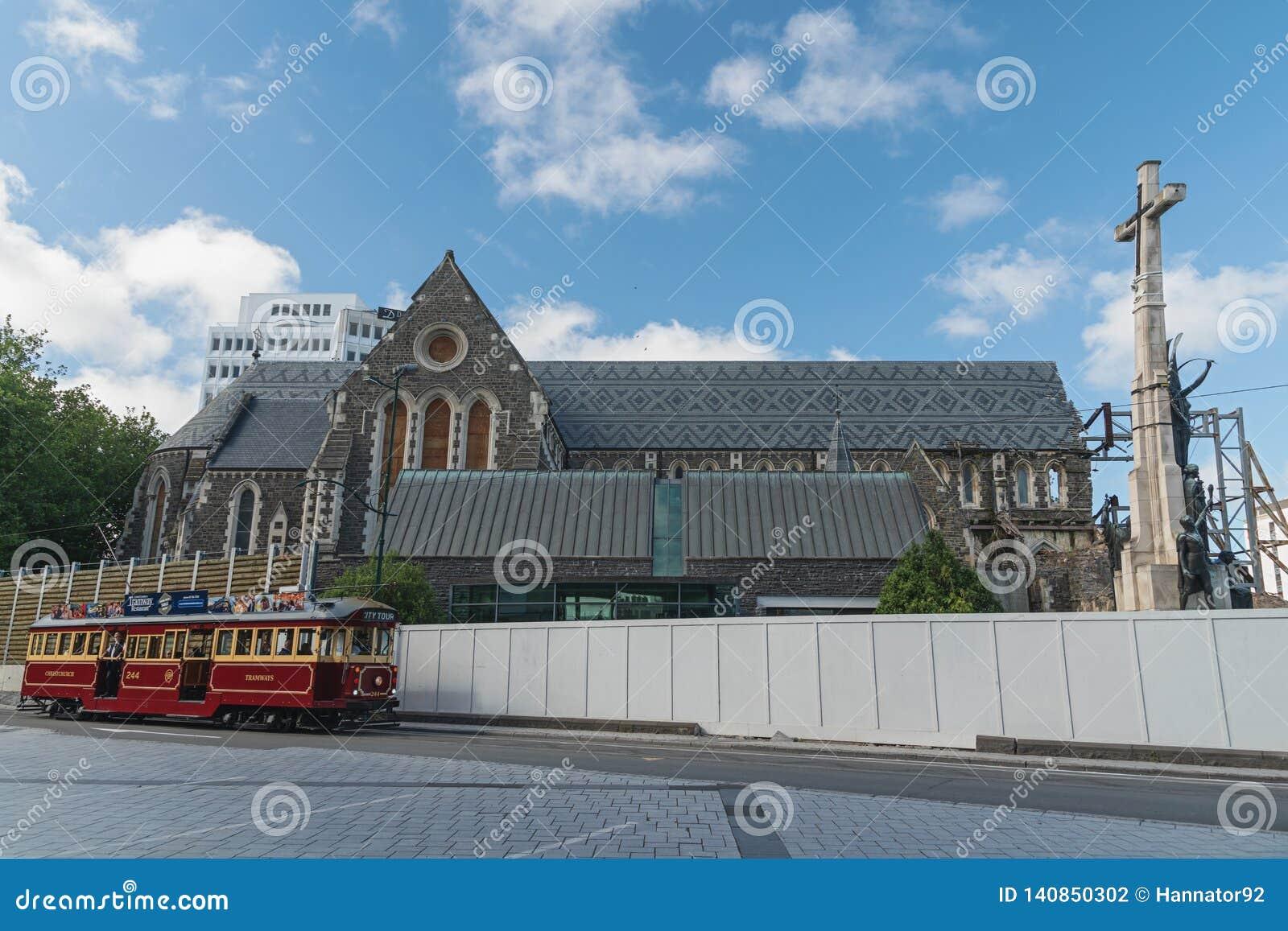 Catedral de Christchurch na baixa de Christchurch, ilha sul de Nova Zelândia