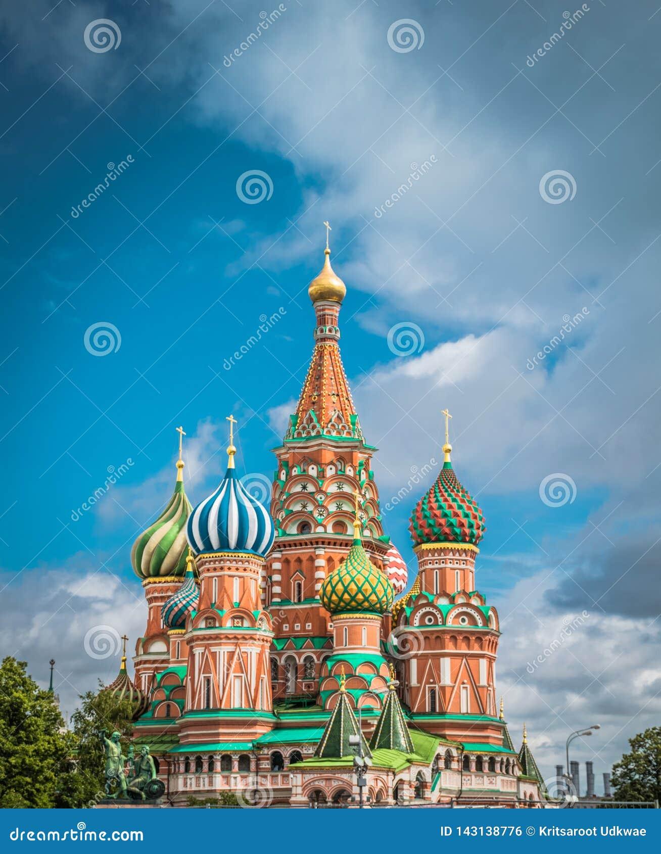 Catedral do ` s da manjeric?o do St no quadrado vermelho em Moscou, R?ssia