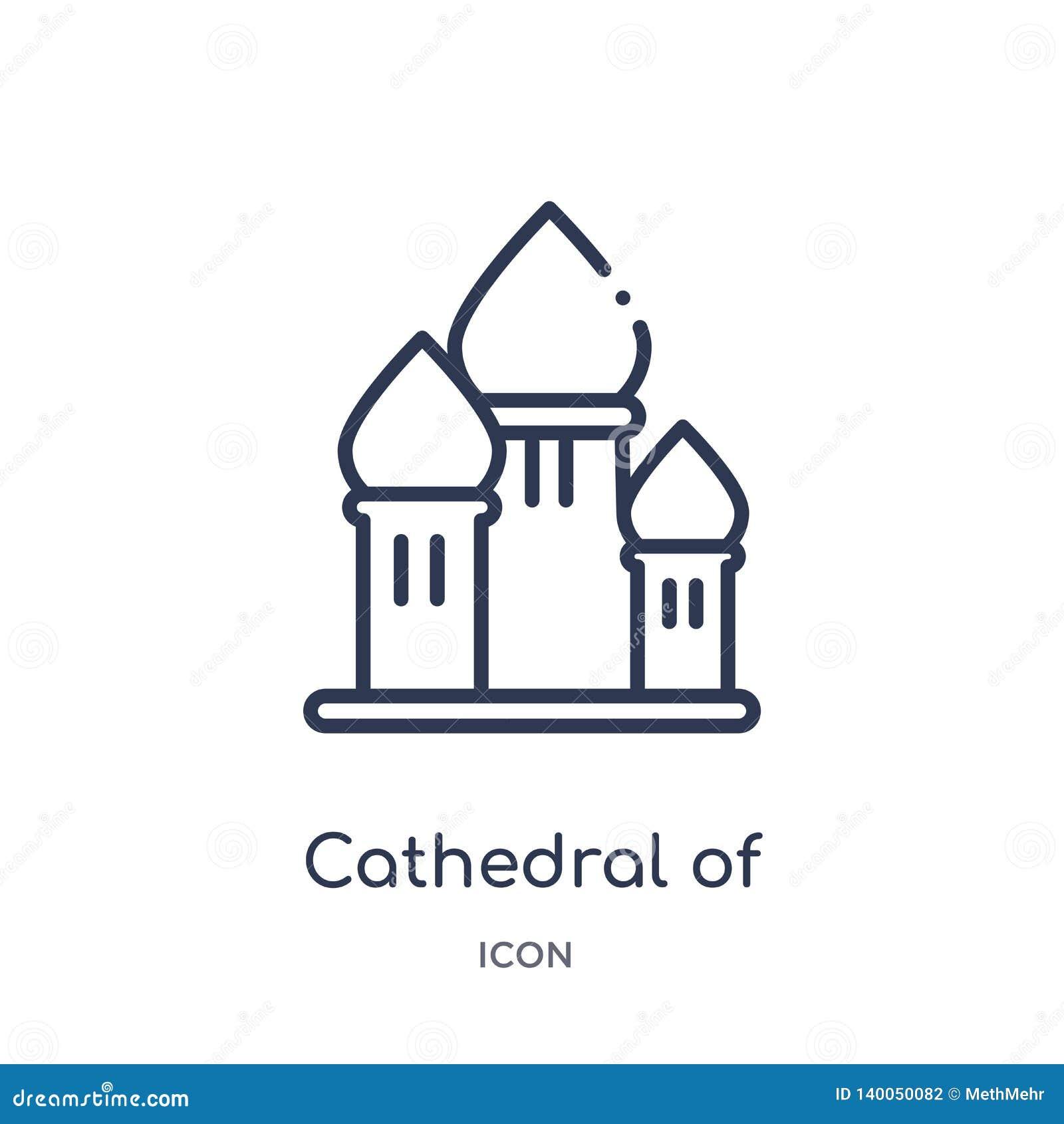 Catedral linear del icono de la albahaca del santo de la colección del esquema de los edificios Línea fina catedral de vector de