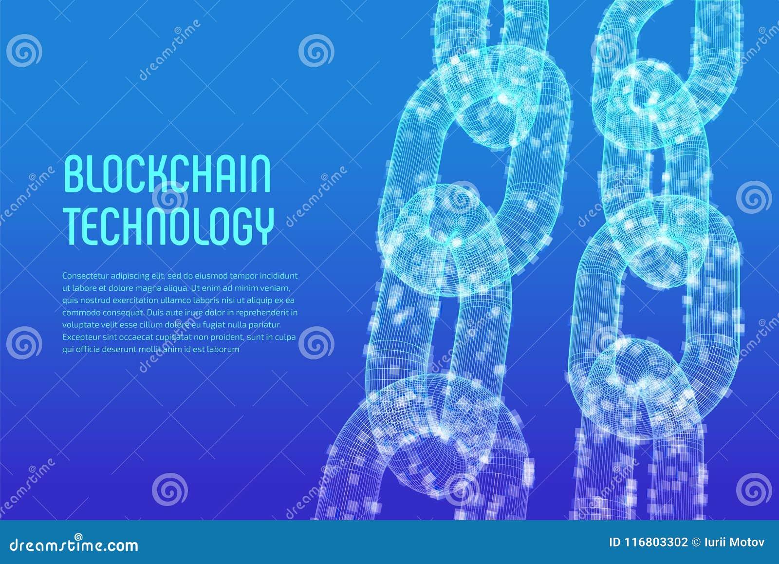 Catena di blocco Valuta cripto Concetto di Blockchain catena del wireframe 3D con i blocchi digitali Cryptocurrency editabile