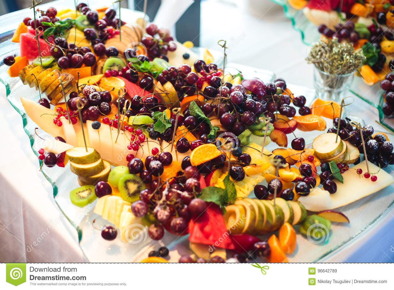 Christmas Birthday Party.Catering Banquet Table With Different Food Snacks And