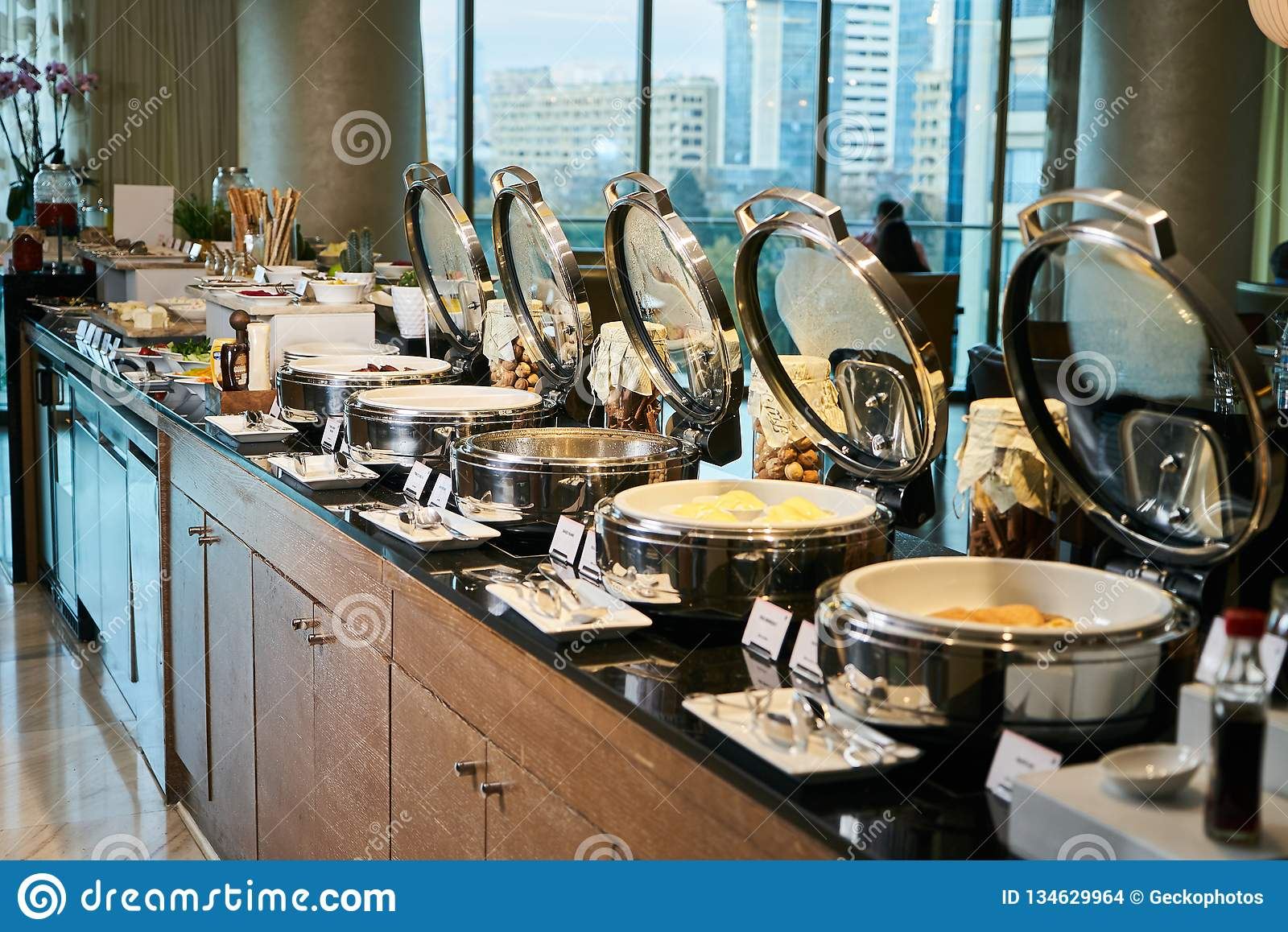 Catering buffet food in hotel restaurant, close-up. Celebration