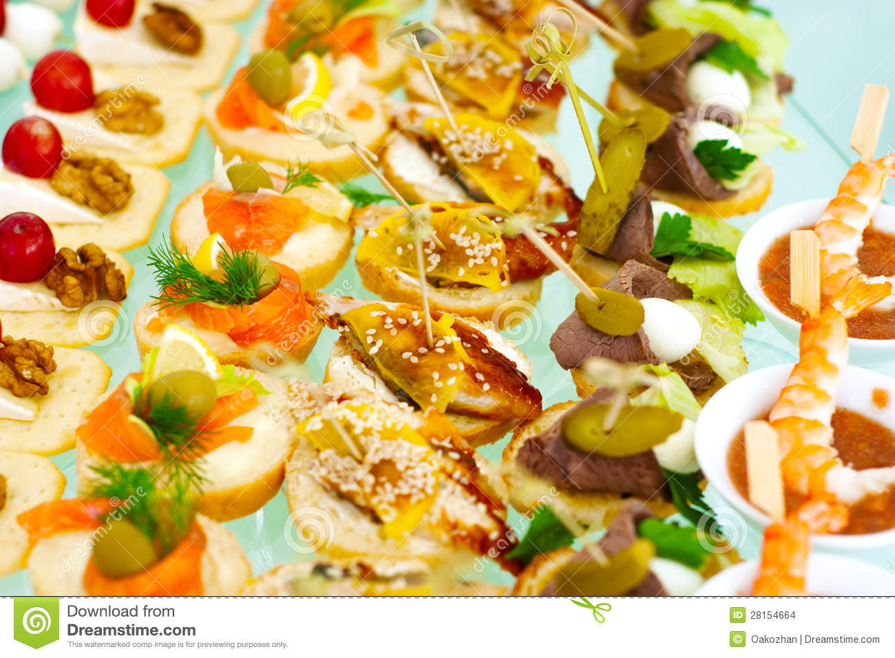 Catering Buffet Style With Different Light Snack Stock
