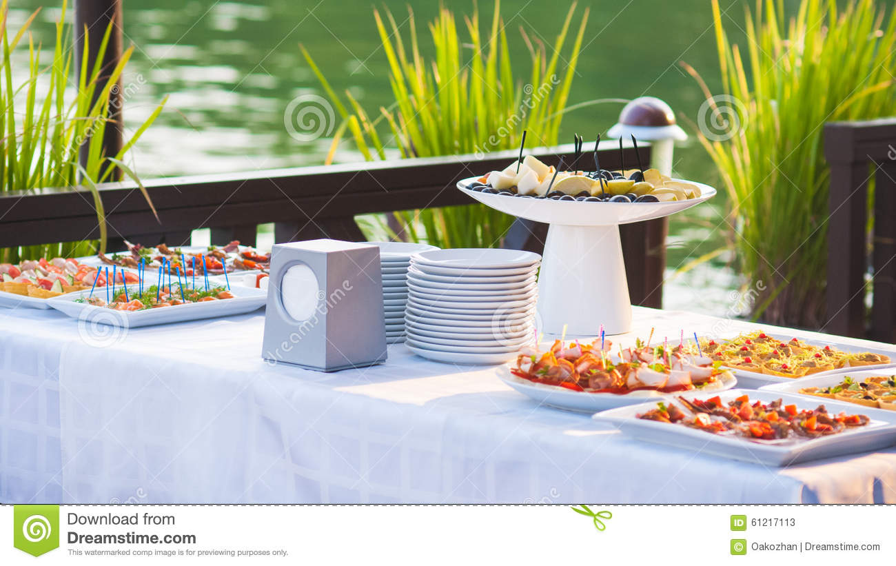 Catering buffet style with different light snack stock for Meal outdoors