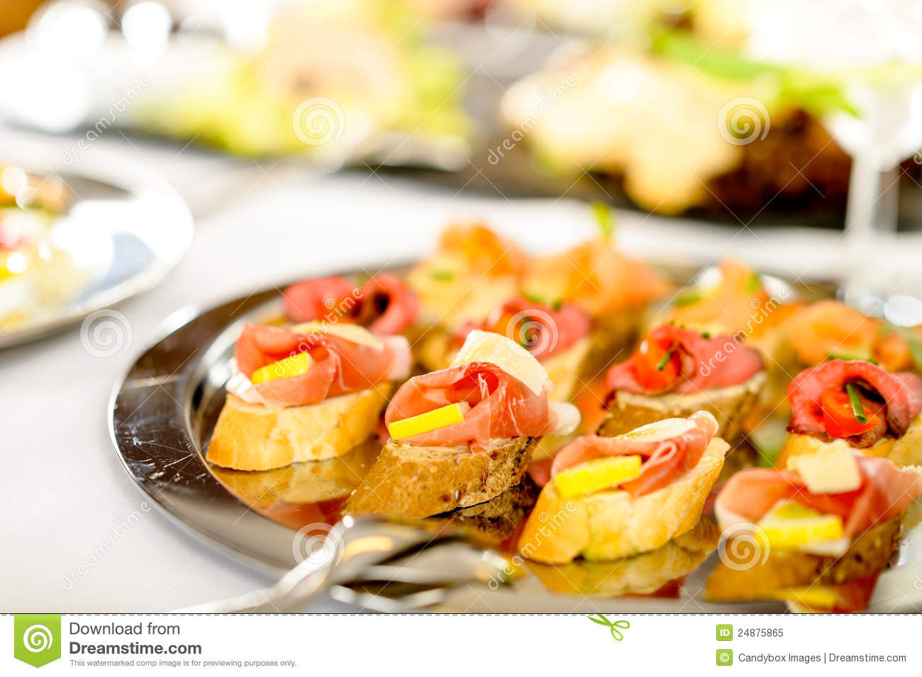 Catering canapes tray food details appetizers royalty free for Catering canape