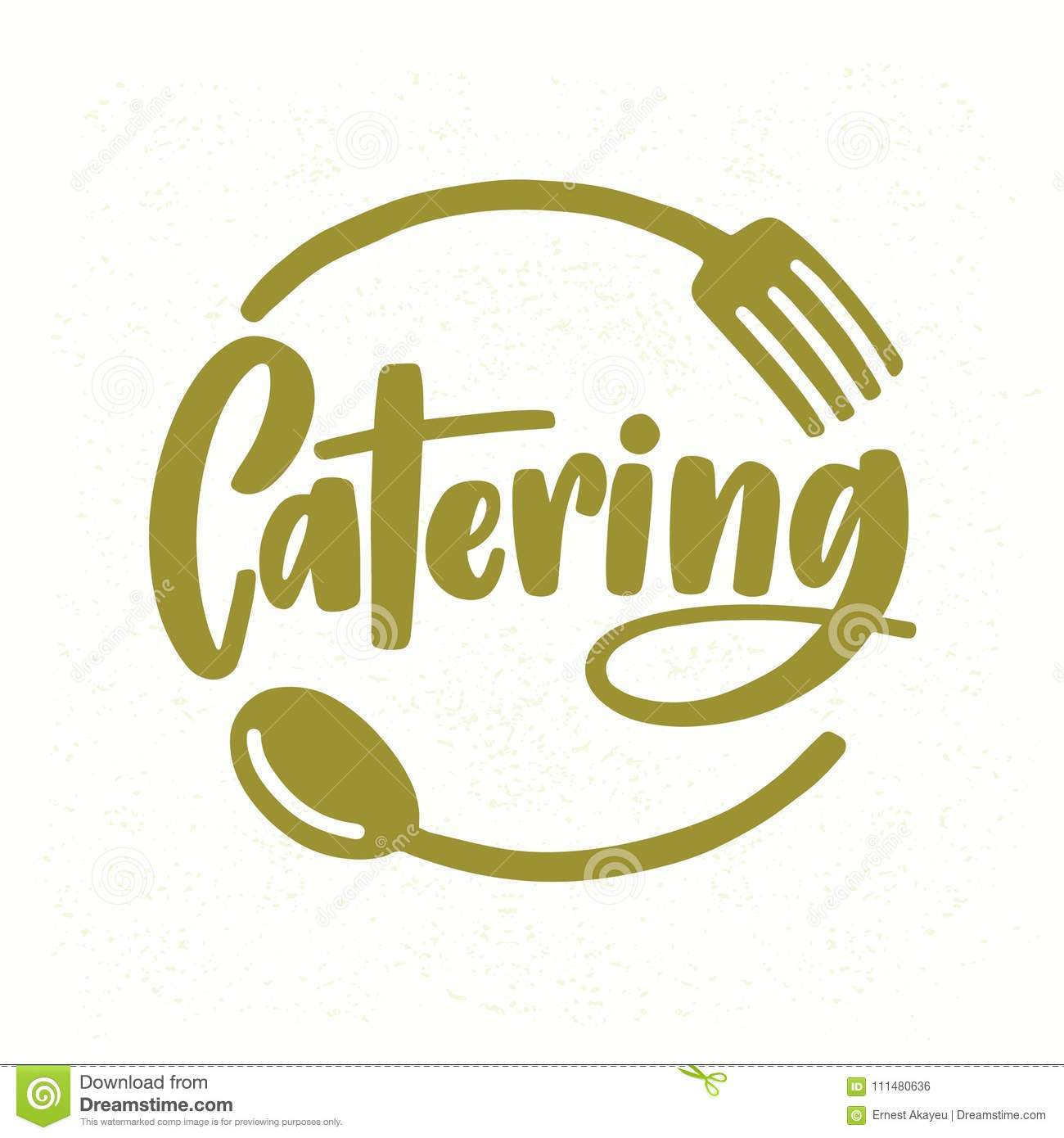 Download Catering Company Logo With Elegant Lettering Handwritten Cursive Font Decorated Fork And Spoon