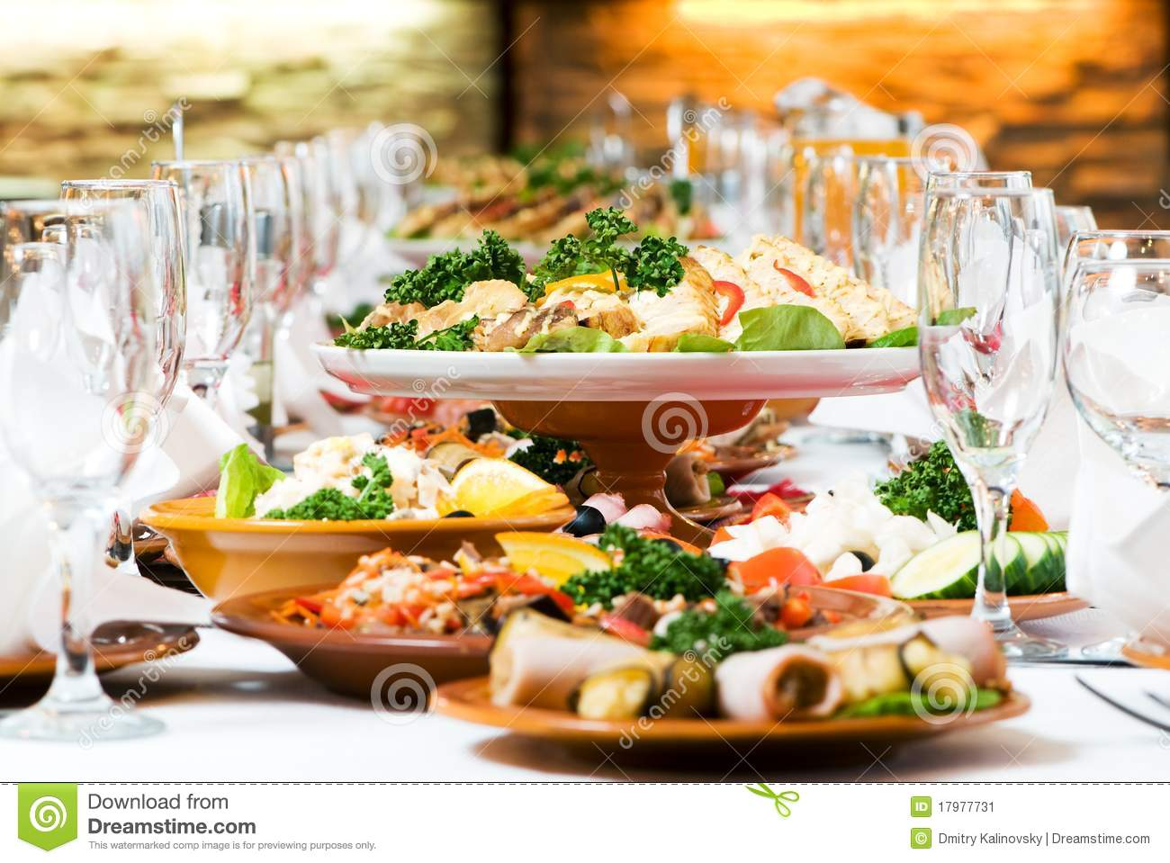 catering food table set decoration stock image image 17977731. Black Bedroom Furniture Sets. Home Design Ideas