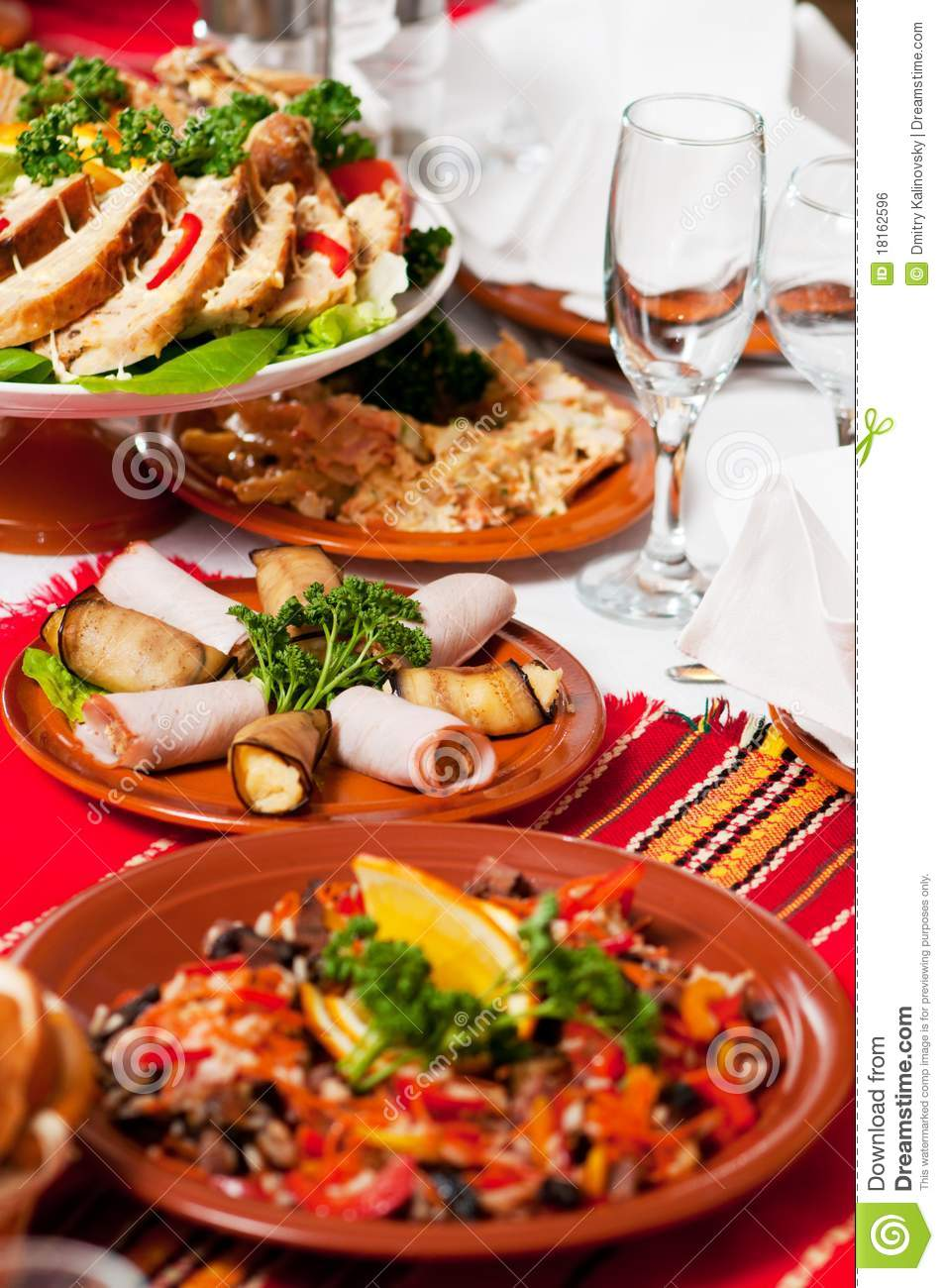 Catering Food Table Set Decoration Stock Photo Image Of