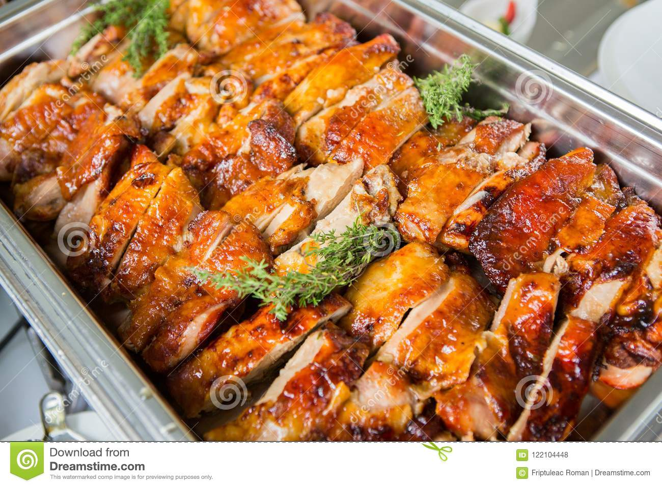 Catering Food Wedding Event Table. Buffet line in Wedding. Delicious appetizer close-up.