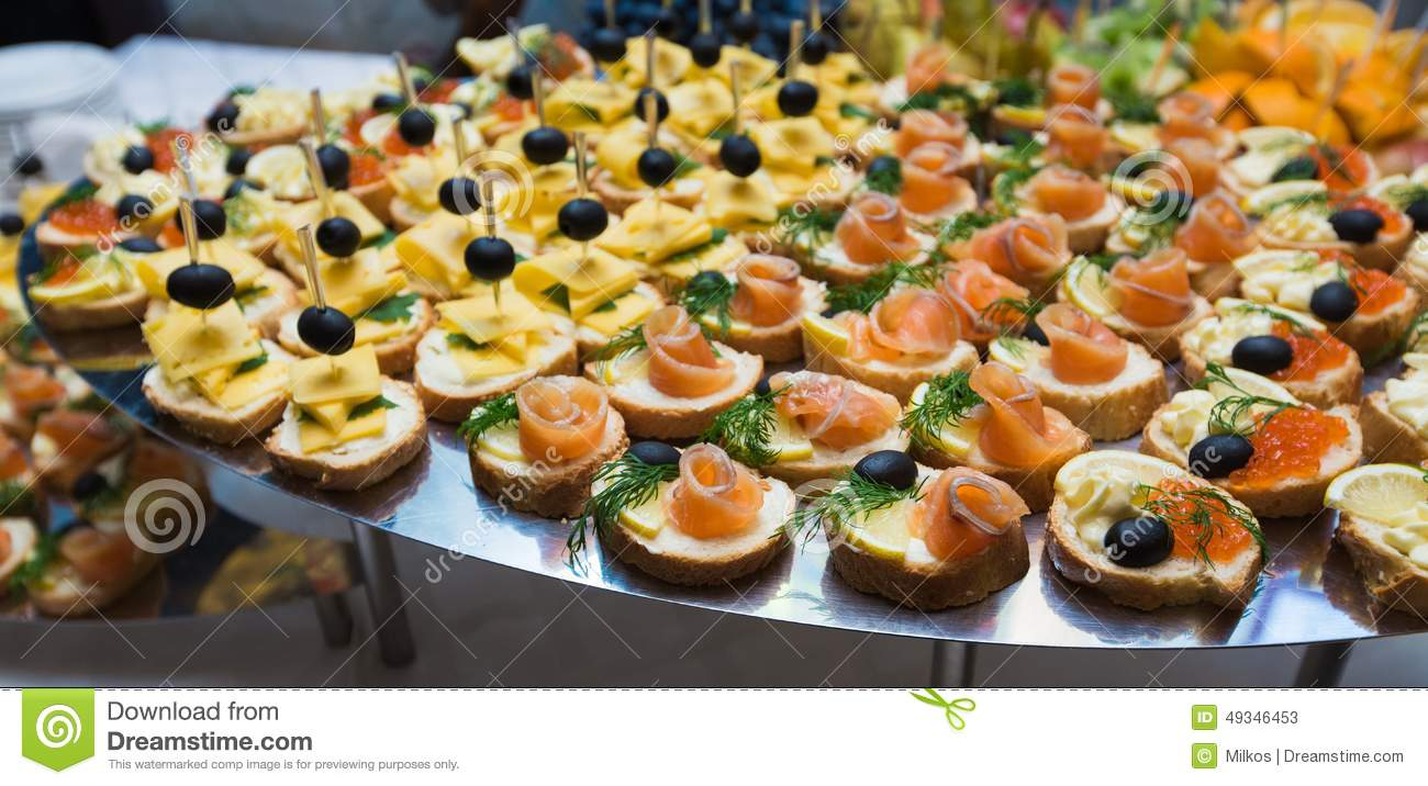 Catering of canape on table royalty free stock image for Canape catering services