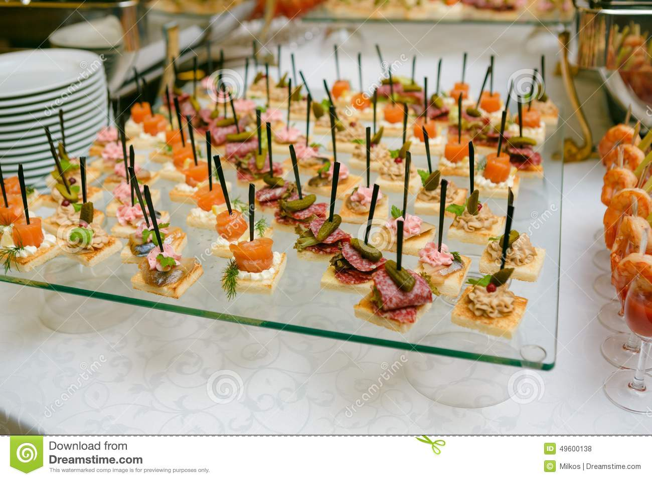 catering of canape on table royalty free stock image