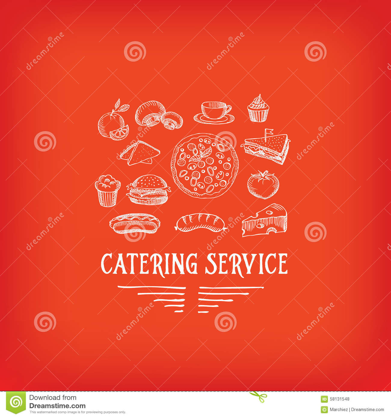 Catering service design logo stock vector image