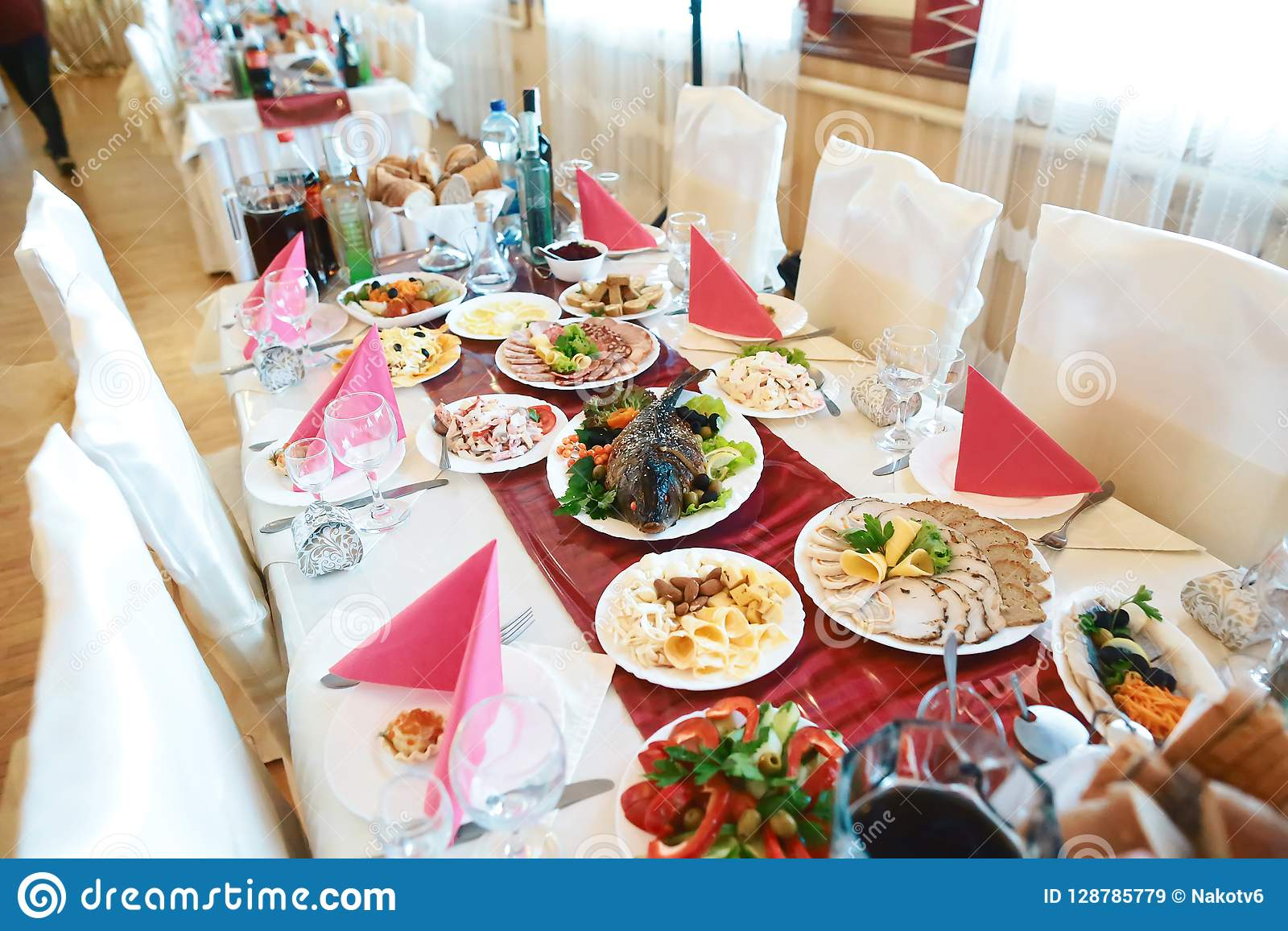 9d7df24e7940 Catering Service. Restaurant Table With Food On The Table. Plates Of ...