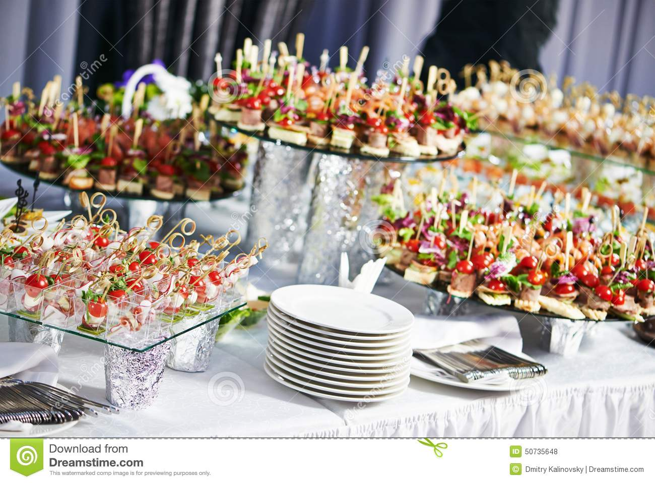 Catering service table with food set stock photo image for Table 30 personnes