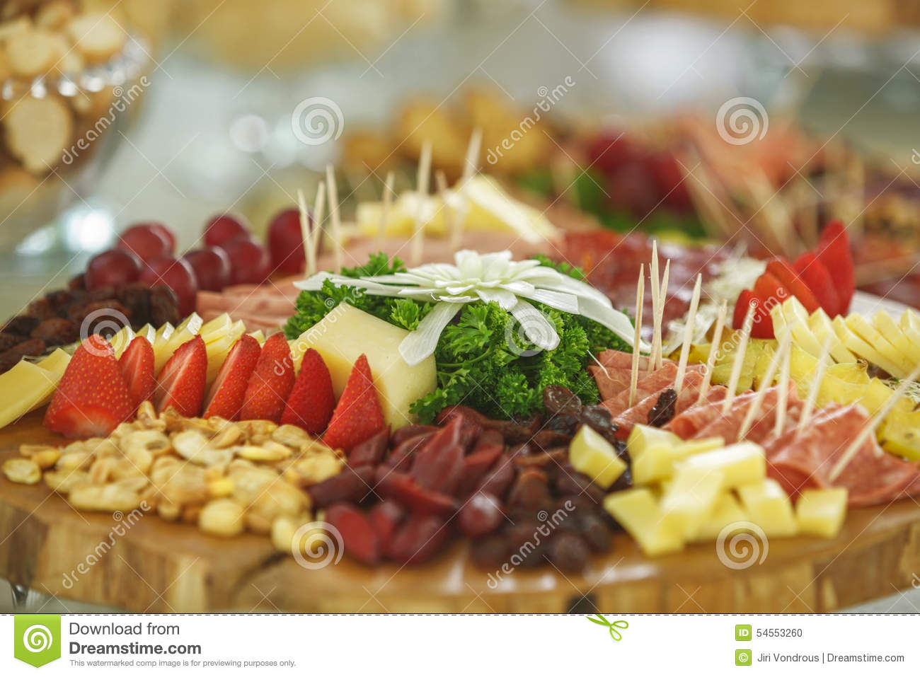 Catering Service With Various Fruits And Vegetables Stock Photo