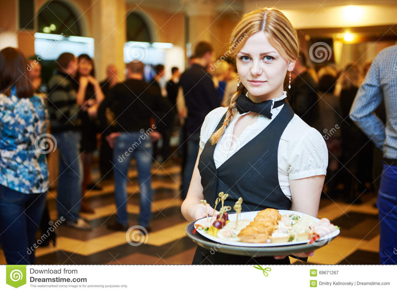 catering service waitress on duty stock image image of cater dining 69671267. Black Bedroom Furniture Sets. Home Design Ideas