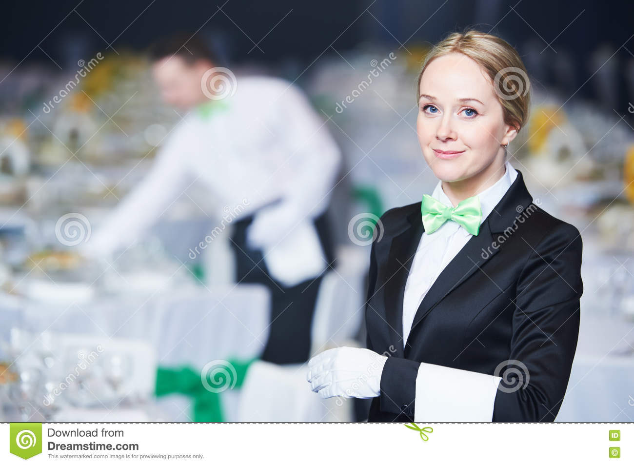 Catering Service Waitress On Duty In Restaurant Stock Image