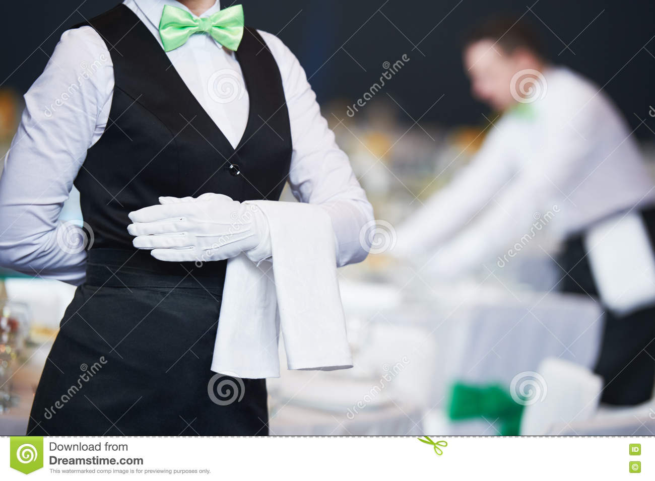Catering Service Waitress On Duty In Restaurant Stock Photo Image