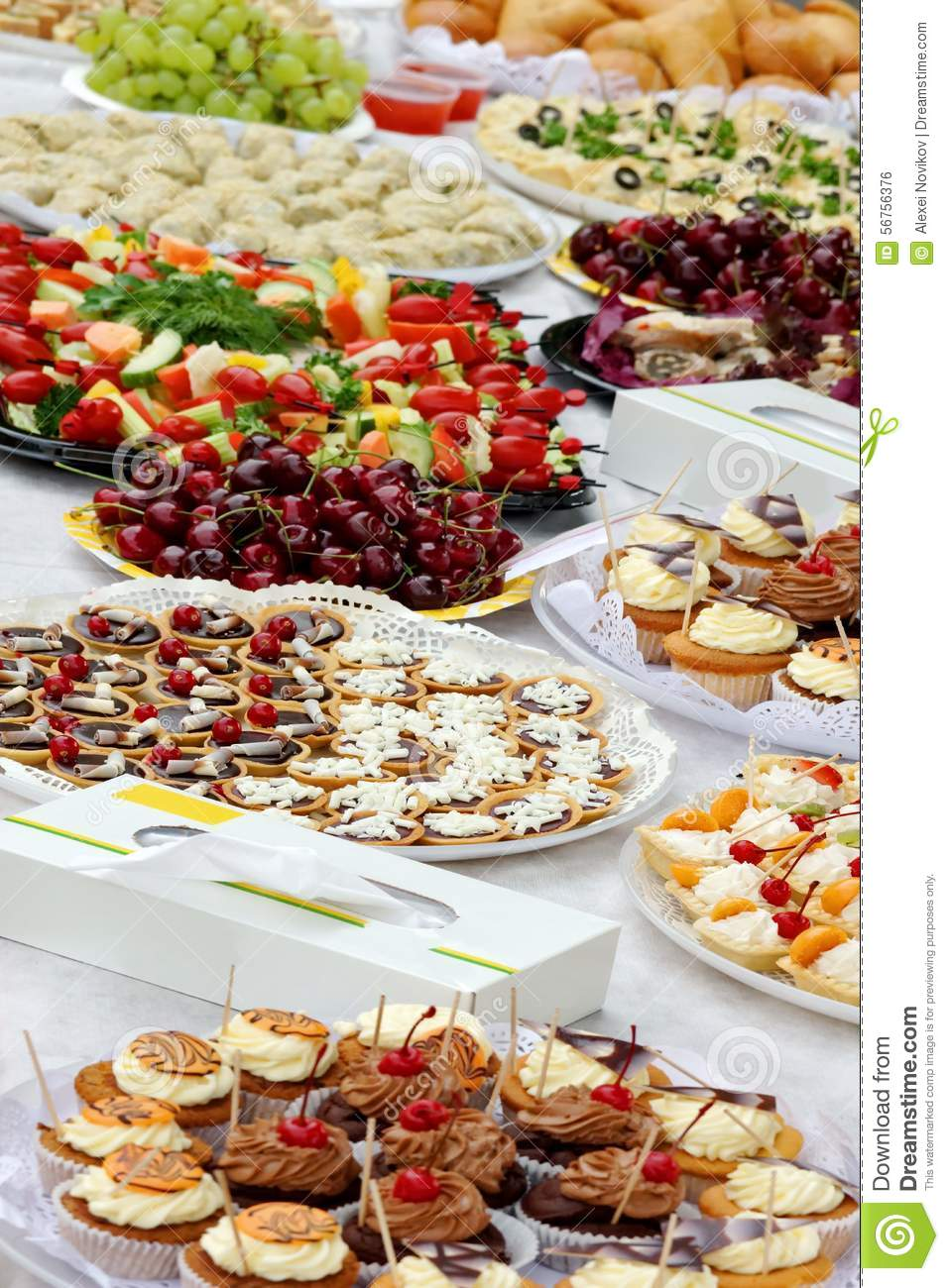 Catering Services Food On Outdoor Party Table Stock Photo  : catering services food outdoor party table different 56756376 from www.dreamstime.com size 957 x 1300 jpeg 182kB
