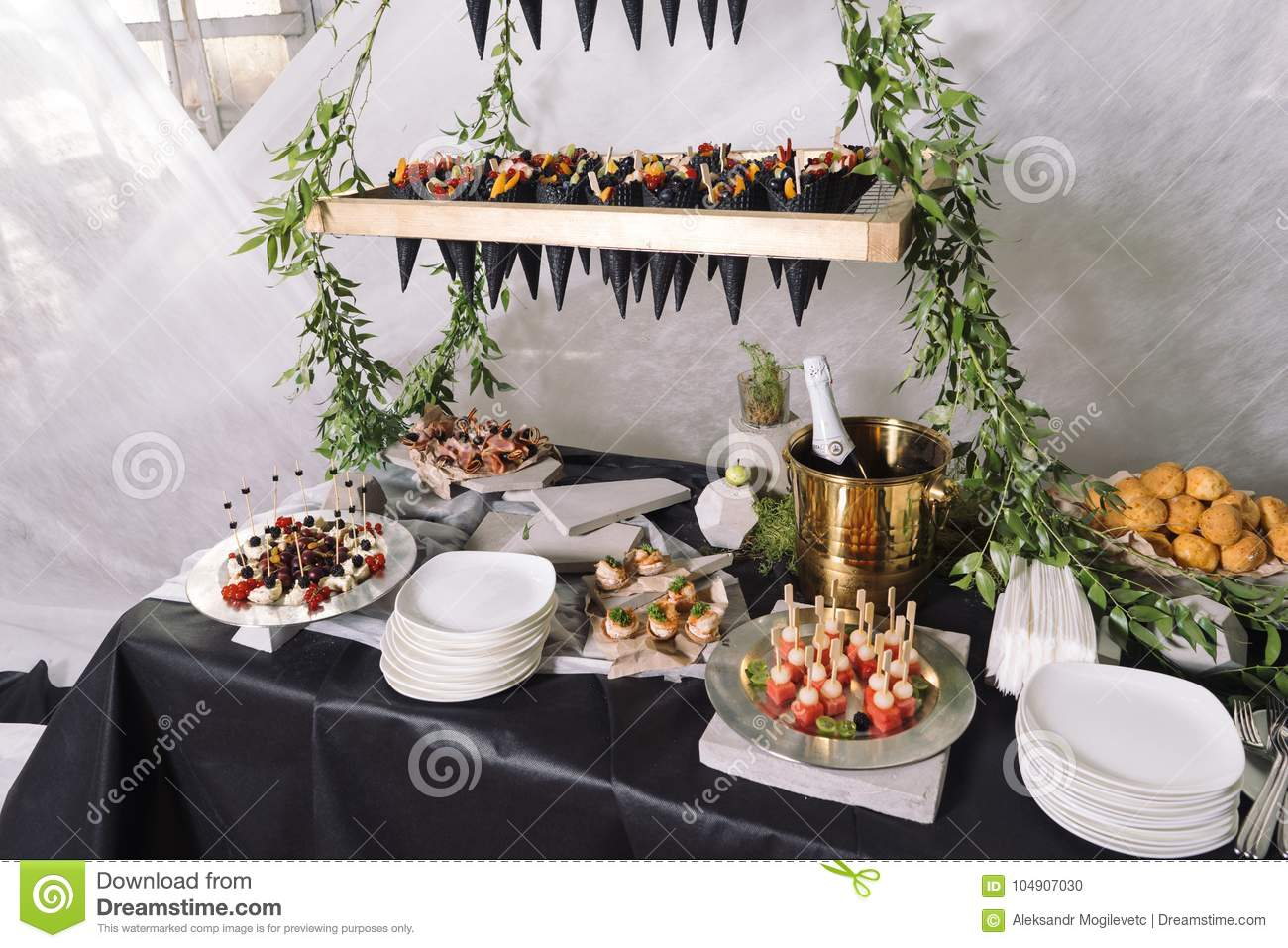 Catering A Wedding Table With Champagne Fruits Snacks Stock