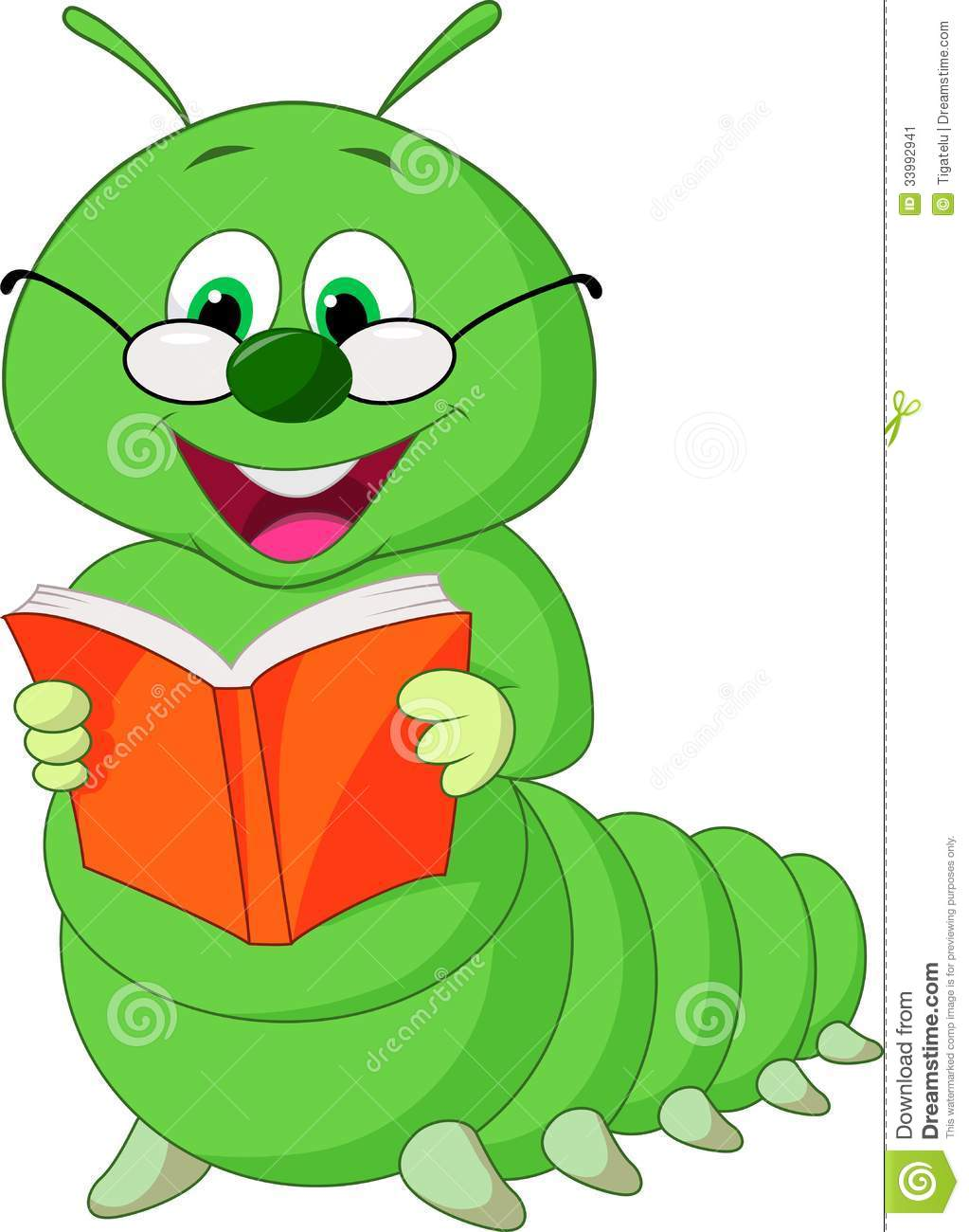 Cartoon Characters Reader : Caterpillar cartoon reading book stock vector