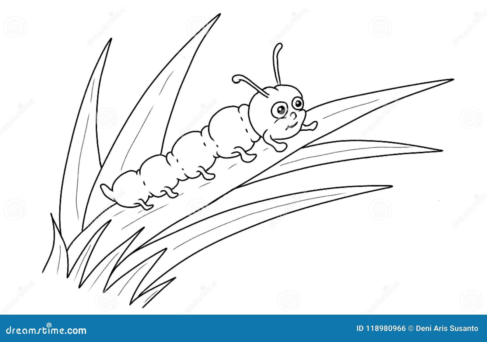 Caterpillar-de pagina van de beeldverhaalkleuring
