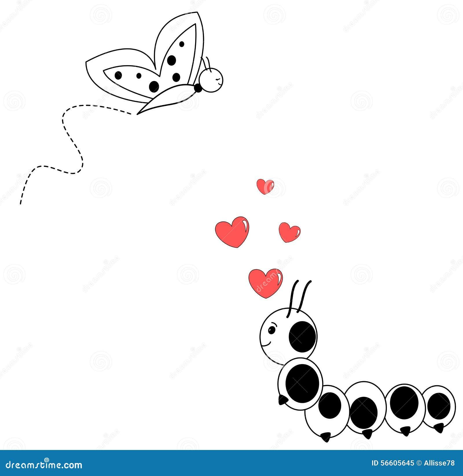 Caterpillar In Love With Cute Butterfly Cartoon Illustration Stock Vector Illustration Of Humor Caterpillar 56605645