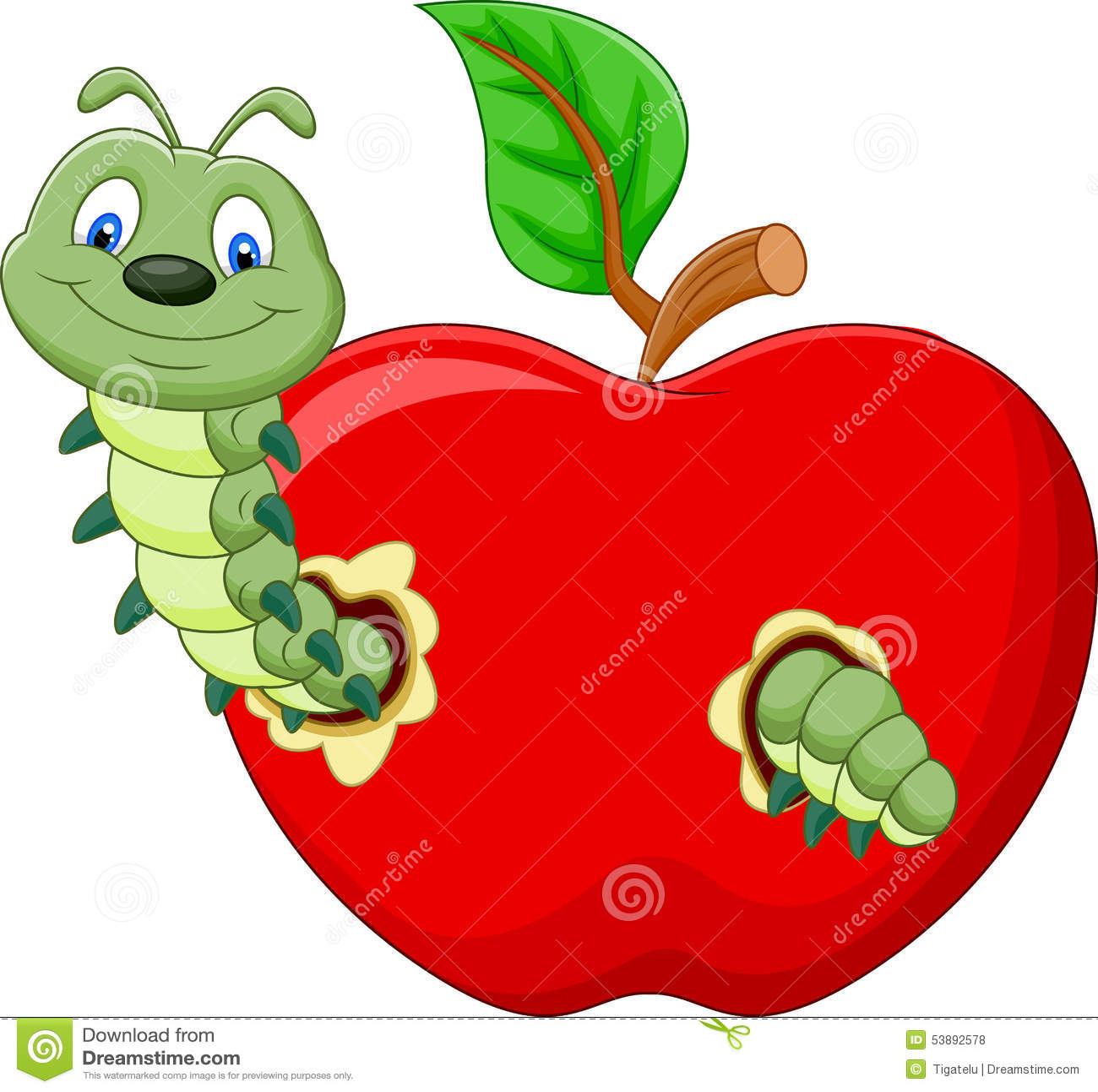 caterpillars cartoon eat the apple stock vector image 53892578